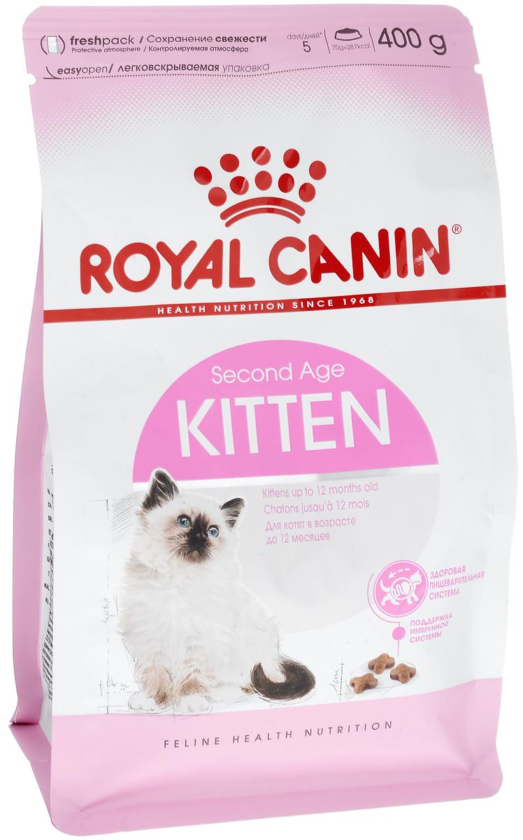 Корм сухой Royal Canin Kitten, для котят в возрасте до 12 месяцев, 400 г2379Сухой корм Royal Canin Kitten - полнорационный корм для котят до 12 месяцев.Здоровье пищеварительной системы.В течение периода роста пищеварительная система котенка остается несовершенной и продолжает постепенно развиваться в течение еще нескольких недель. Уникальная комбинация питательных веществ помогает поддерживать здоровое пищеварение котенка и нормализует стул. Легкоусвояемые белки (L.I.P.), адаптированное содержание клетчатки (в том числе подорожника и пребиотиков) способствует балансу кишечной микрофлоры.Естественная защита.Комплекс антиоксидантов и пребиотики, содержащиеся в продукте KITTEN, поддерживают естественные защитные силы котенка.Гармоничный рост.Сбалансированное содержание легкоусвояемых белков (L.I.P.), витаминов и минеральных веществ в продукте KITTEN способствует росту котенка, а также удовлетворяет его энергетические потребности в период интенсивного роста. LIP.Благодаря высокоусвояемым белкам L.I.P. (90% усвояемости) снижается количество непереваренных остатков пищи в кишечнике. Состав: дегидратированный белок мяса птицы, рис, изолят белка растительного происхождения, животные жиры, кукуруза, гидролизат белка животного происхождения, клейковина кукурузы, растительная клетчатка, свекольный жом, минеральные вещества, рыбий жир, дрожжи, соевое масло, оболочка и семена подорожника (0,5%), фруктоолигосахариды, гидролизат дрожжей (источник маннаноолигосахаридов), экстракт бархатцев прямостоячих (источник лютеина). Добавки (на 1 кг):пищевые добавки: витамин А: 20100 МЕ, витамин D3: 710 МЕ, Е1 (железо): 41 мг, Е2 (йод): 4,1 мг, Е4 (медь): 8 мг, Е5 (марганец): 53 мг, Е6 (цинк): 159 мг, Е8(селен): 0,07 мг – консерванты – антиоксиданты.Товар сертифицирован.Уважаемые клиенты!Обращаем ваше внимание на изменения в дизайне упаковки.