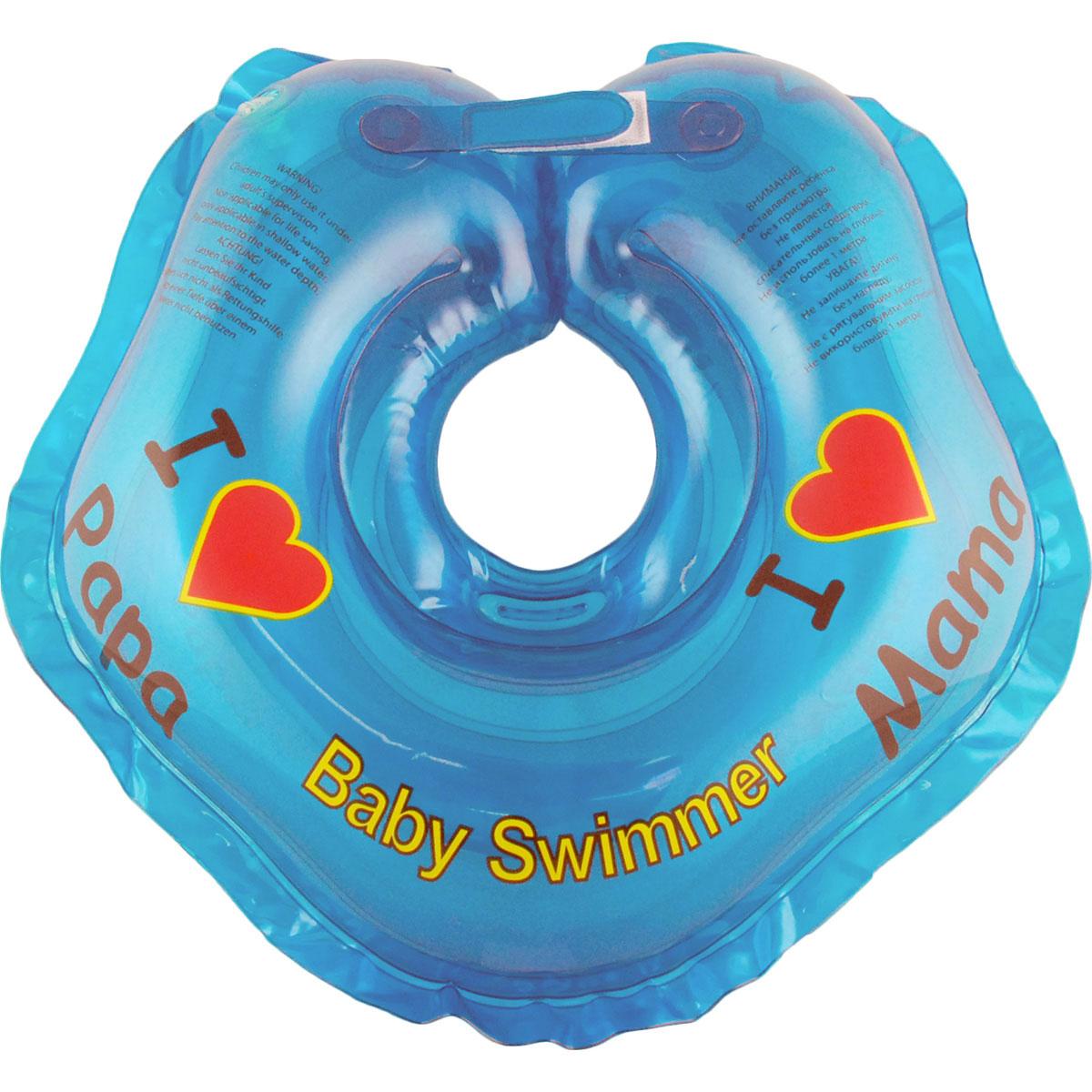 Круг на шею Baby Swimmer, цвет: голубой, 3-12 кг roxi kids fl002 круг на шею для купания малышей