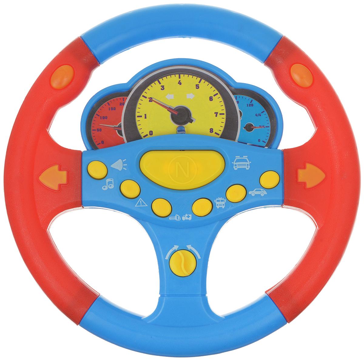 ABtoys Игрушечный музыкальный руль цвет голубой красный abtoys игрушечный музыкальный руль цвет черный желтый красный