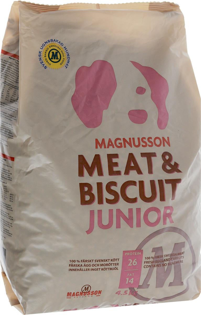 Корм сухой Magnusson Junior для щенков, беременных и кормящих сук, 4,5 кг7350033852422Здоровье собаки формируется в первый год жизни и самое важное в этот период - правильное кормление.Корма массового производства обрабатывают маслом для восстановления потерянных в процессе производства животных жиров. Чтобы масло не портилось добавляется консервант, чтобы консервант не горчил, а корм привлекательно пах - усилители вкуса и запаха. Иногда добавляются ферменты, помогающие переварить корм с добавками.Запекание сохраняет животные жиры, поэтому корм Magnusson Junior не обрабатывается маслом, не содержит консервант и другие химические добавки.Источником животного белка является филейная часть говядины (46% свежего мяса) без добавления мясной, рыбной, куриной муки или субпродуктов. Свежие яйца в сочетании с говядиной обеспечивают лучшее качество белка. Свежая морковь, также входящая в состав корма, является источником витамина А, регулирует углеводный обмен и оказывает положительное воздействие на работу пищеварительной системы вашей собаки.Источником углеводов является пшеница грубого помола, выращенная без применения удобрений и пестицидов. Пшеница является растительным продуктом с высокой усвояемостью, обеспечивает энергетические нужды организма, а также помогает синтезу аминокислот и ДНК - носителя генетической информации.Собаки нуждаются в витаминах и микроэлементах в небольших количествах, по сравнению с другими питательными веществами. Тем не менее, они жизненно необходимы. Для правильного формирования скелета, здоровых и крепких костей щенку нужны кальций и витамин D, а беременным и кормящим сукам - кальций и фосфор. Дневная норма витаминов и микроэлементов в достаточном количестве для здорового роста и развития вашей собаки уже содержатся в данном корме.Для щенков в возрасте от 3 недель корм необходимо давать в виде каши. Используйте блендер или просто залейте корм чистой водой и через несколько минут размешайте ложкой до состояния каши.Щенкам от 7-8 недель и взро