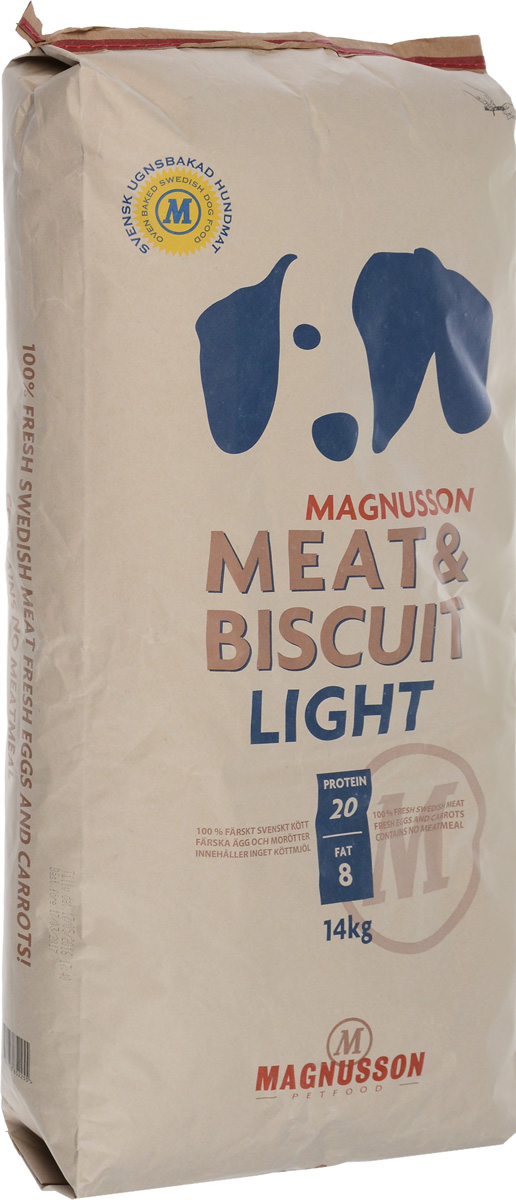 Корм сухой Magnusson Light для собак, склонных к избыточному весу, 14 кг7350033852255Корм с высоким содержанием белка слишком богат энергией, что может усложнить задачу сохранения нормального веса малоактивной собаки и привести к чрезмерно быстрому росту и ожирению. Это все может негативно отразиться на костях и суставах. Хорошим способом сохранить форму собаки является употребление корма Magnusson Light с меньшим содержанием белка и жира, обеспечивающим вашего питомца сбалансированным количеством энергии.Источником животного белка является филейная часть говядины (34% свежего мяса) без добавления мясной, рыбной, куриной муки или субпродуктов. Свежие яйца в сочетании с говядиной обеспечивают лучшее качество белка. Свежая морковь, также входящая в состав корма, является источником витамина А, регулирует углеводный обмен и оказывает положительное воздействие на работу пищеварительной системы вашей собаки.Источником углеводов является пшеница грубого помола, выращенная без применения удобрений и пестицидов. Пшеница является растительным продуктом с высокой усвояемостью, обеспечивает энергетические нужды организма, а также помогает синтезу аминокислот и ДНК - носителя генетической информации.Собаки нуждаются в витаминах и микроэлементах в небольших количествах, по сравнению с другими питательными веществами. Тем не менее, они жизненно необходимы. Дневная норма витаминов и микроэлементов в достаточном количестве для здорового роста и развития вашей собаки уже содержится в корме.Взрослым собакам корм можно давать как в сухом, так и размоченном виде. Не стоит заливать корм бульоном или молоком, лучше всего использовать теплую воду так, чтобы она покрывала корм.Количество корма может варьироваться в зависимости от породы, темперамента, физической нагрузки, климата и других факторов. Вода является самым важным питательным веществом. Взрослая собака нуждается в 2-3 частях воды на одну часть сухого корма.Товар сертифицирован.Чем кормить пожилых собак: советы ветеринара. Статья