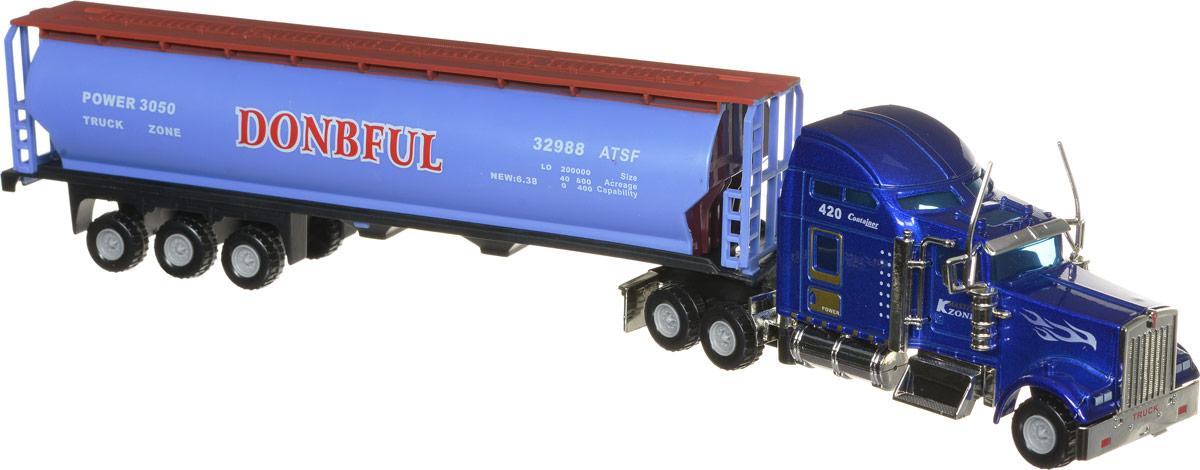 Junfa Toys Грузовик цвет голубой синий полуприцеп маз 975800 3010 2012 г в