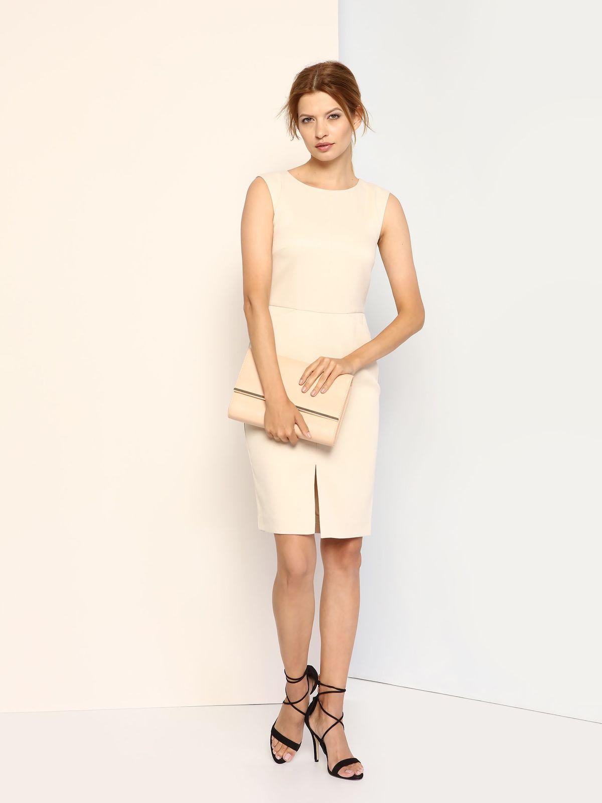 Платье Top Secret, цвет: светло-бежевый. SSU1622KR. Размер 34 (40)SSU1622KRПлатье Top Secret выполнено из полиэстера с добавлением эластана и дополнено подкладкой из 100% полиэстера. Платье-миди с круглым вырезом горловины застегивается на потайную застежку-молнию расположенную в среднем шве спинки. Перед модели дополнен двумя втачными карманами и небольшим разрезом.