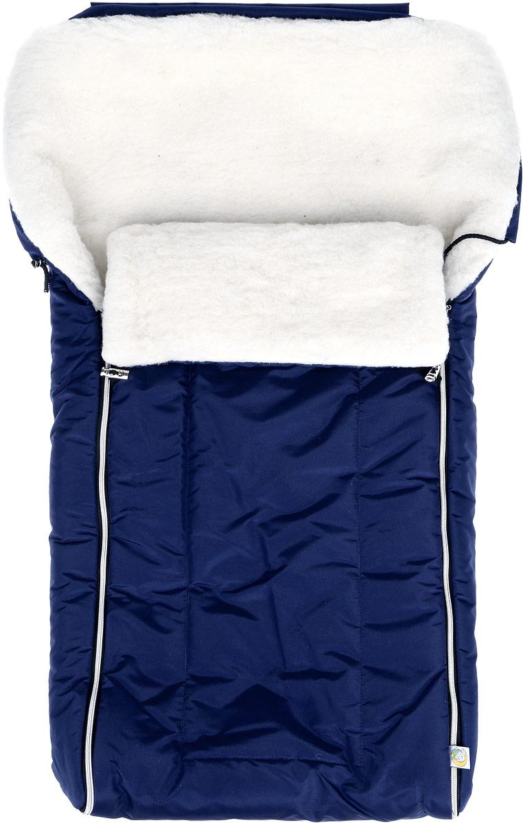 Конверт для новорожденного Сонный Гномик Норд, цвет: темно-синий. 982/6. Возраст 0/9 месяцев982/6_синийМногофункциональный и теплый меховой конверт для новорожденного Сонный Гномик Норд отлично подойдет для долгих зимних прогулок. Конверт изготовлен из специальной синтетической ткани Dewspo (100% полиэстер), которая защищает от дождя и ветра. Меховая подкладка выполнена из шерсти с добавлением полиэстера. В качестве утеплителя используется шелтер (100% полиэстер).Шелтер (Shelter) - утеплитель, состоящий из микроволокон, удачно сочетает непревзойденное тепло натурального пуха и лучшие качества синтетических материалов. Его уникальность состоит в особенности структуры, повторяющей пух. Ультратонкие волокна делают утеплитель мягким, позволяющим ребенку активно двигаться. Утеплитель шелтер максимально защищает от холода, не стесняя движений, позволяя телу дышать. Конверт легко стирается в домашних условиях, быстро сохнет и сохраняет форму.Конструкция модели снабжена двумя удобными застежками-молниями. Она раскладывается на два отдельных меховых коврика. Верхняя часть конверта дополнена по краю затягивающимся шнурком со стопперами и может использоваться в качестве капюшона в ветреную или холодную погоду. Когда ребенок подрастет, можно использовать конверт в санках, воспользовавшись специальным клапаном на пуговицах для крепления к спинке санок и отстегнув переднюю часть конверта. В конверте предусмотрено 5 мест под ремни безопасности коляски или автомобильного кресла - при возникновении необходимости можно легко прорезать отверстия самостоятельно, ориентируясь на особенности коляски или кресла. Спереди предусмотрен отворот, фиксирующийся с помощью декоративных стопперов. Увеличенная длина конверта позволит использовать конверт несколько сезонов.Ваш малыш всегда будет защищен от любых погодных капризов!