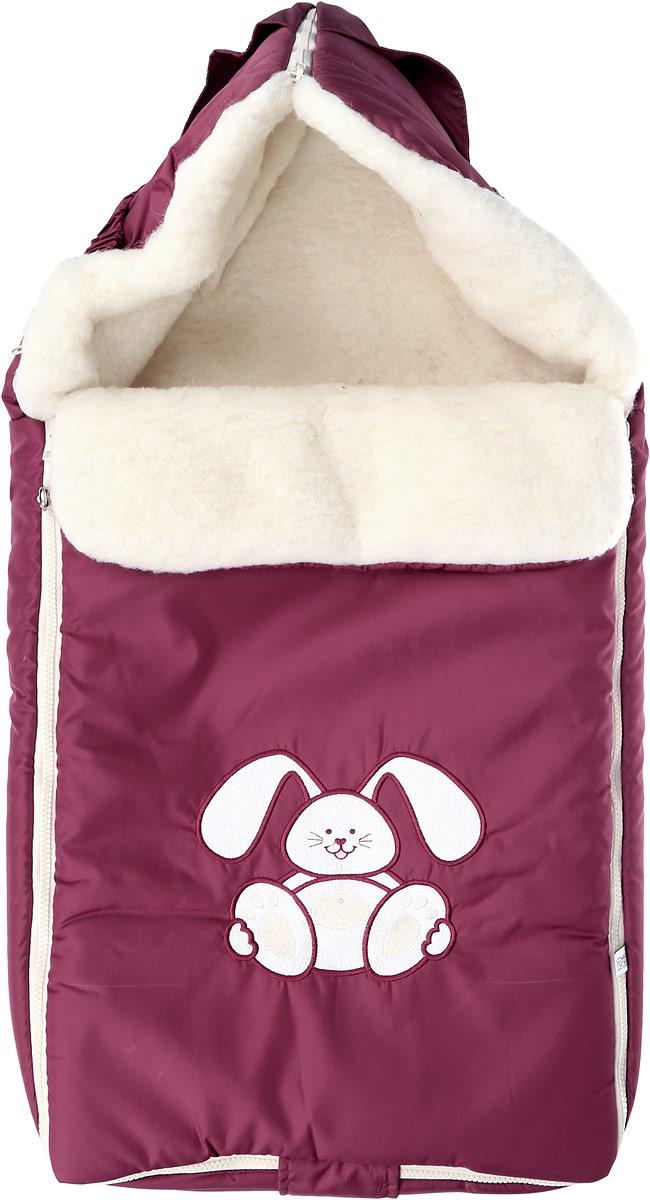 Конверт для новорожденного Сонный Гномик Зайчик, цвет: бордовый. 969/9. Возраст 0/9 месяцев969/9Теплый конверт для новорожденного Сонный Гномик Зайчик идеально подойдет для ребенка в холодное время года. Конверт изготовлен из водоотталкивающей и ветрозащитной ткани Dewspo (100% полиэстер) на подкладке из шерсти с добавлением полиэстера. В качестве утеплителя используется шелтер (100% полиэстер).Шелтер (Shelter) - утеплитель нового поколения с тонкими волокнами. Его более мягкие ячейки лучше удерживают воздух, эффективнее сохраняя тепло. Более частые связи между волокнами делают утеплитель прочным и позволяют сохранить его свойства даже после многократных стирок. Утеплитель шелтер максимально защищает от холода и не стесняет движений.Верхняя часть конверта может использоваться в качестве капюшона в ветреную или холодную погоду и надеваться на спинку коляски благодаря эластичным ремешкам и вставке. С помощью застежки-молнии верх принимает вид треугольного капюшона. Пластиковая застежка-молния по бокам и нижнему краю изделия помогает с легкостью доставать малыша из конверта, не тревожа его сон. Модель раскладывается на два отдельных коврика. Спереди предусмотрен отворот, фиксирующийся с помощью декоративных пуговиц. Оформлена модель аппликацией в виде забавного зайчика. Конверт заменит лишние теплые кофточки и штанишки, и, значит, свободу малыша ничто не будет ограничивать. Комфортный, удобный и практичный, этот конверт идеально подойдет для прогулок на свежем воздухе!