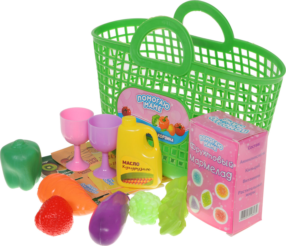ABtoys Набор продуктов в корзине 14 предметов цвет зеленый игровой набор abtoys помогаю маме с посудой и продуктами 8 пр