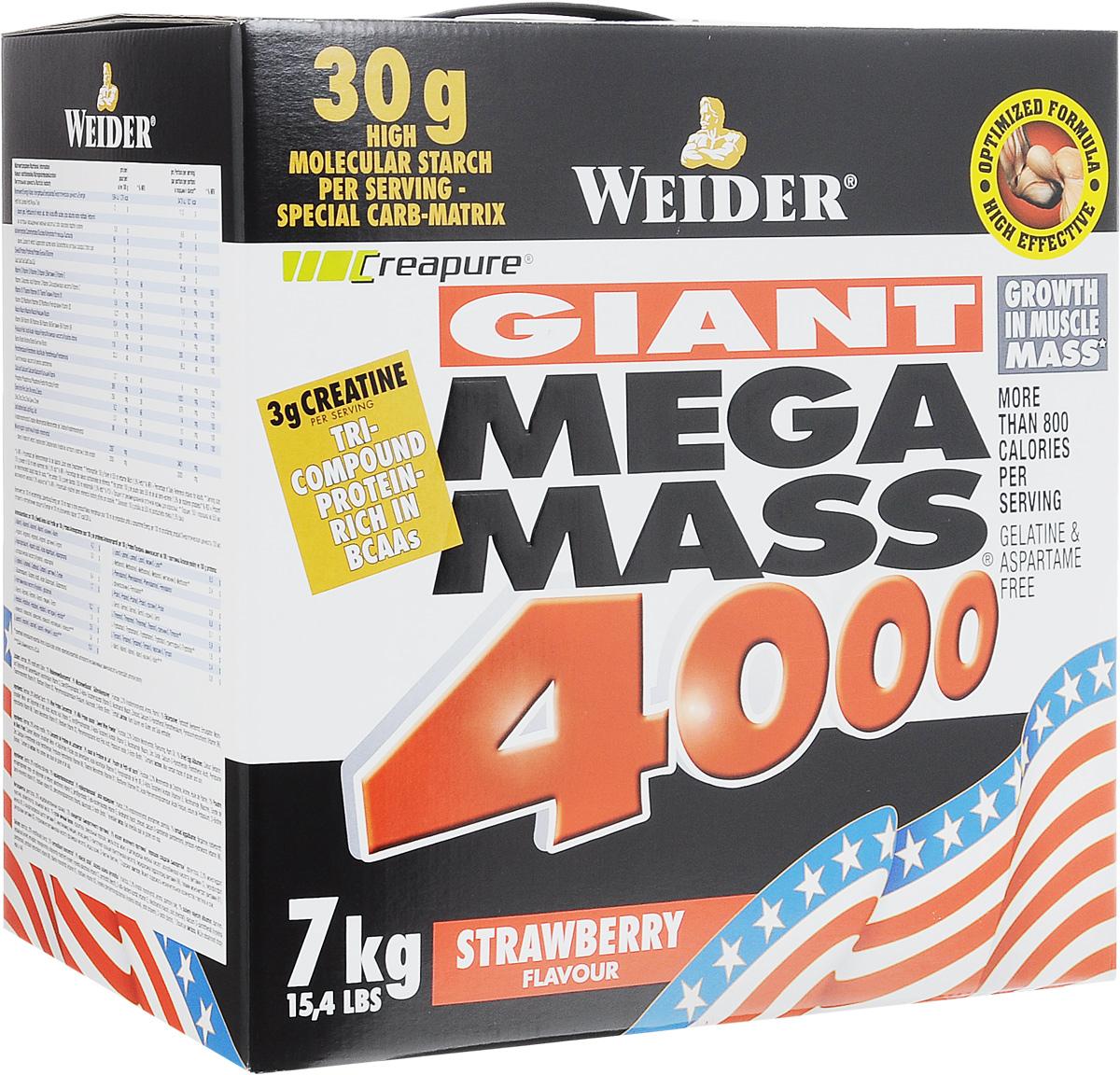Гейнер Weider Giant Mega Mass 4000, клубника, 7 кг32625Гейнер Weider Giant Mega Mass 4000 - высококачественный продукт для наращивания мышечной массы, специально разработан для людей, с трудом набирающих вес. Предназначен для приготовления напитка с углеводами, белком, креатином, минералами и витаминами. Углеводы различной длины способствуют снабжению энергией на протяжении длительного времени, а высококачественный изолят молочного белка с увеличенным количеством аминокислот ВСАА является отличным строительным материалом для мускулатуры. Содержащиеся в 1 порции 3 г креатина увеличивают физические показатели вследствие краткосрочных упражнений высокой интенсивности. Плюс ко всему каждый коктейль содержит практически все витамины и минералы в количествах, соответствующих норме суточного потребления. Положительные эффекты: - Рост мышечной массы; - Длительное и выраженное подавление мышечного катаболизма; - Ускорение восстановительных процессов, в том числе синтеза белка; - Установление положительного азотистого баланса; - Восполнение тренировочных энергозатрат; - Активизация анаболического гормона инсулина; - Упрощение и разгрузка рациона за счет уменьшения необходимых калорий. Рекомендации по применению: Индивидуальное количество порций коктейля Giant Mega Mass 4000 можно определить очень просто. В общем случае прибавка в весе за месяц не должна превышать 2 килограмм, иначе доля жира в организме слишком сильно повысится. Контроль массы тела, доли жира в организме и объема талии дает информацию о правильном количестве калорий, которые необходимо потреблять. Если вес тела повышается, а объем талии не увеличивается, тогда человек нашел правильное количество, подходящее для него лично. Если вес тела повышается, и объем талии увеличивается, тогда базовое питание должно быть подвергнуто проверке - не слишком ли много употребляется жира - и количество порций коктейля должно быть уменьшено. Если вес не повышается, то количество коктейля должно быть увеличено. Принимать по 1 п