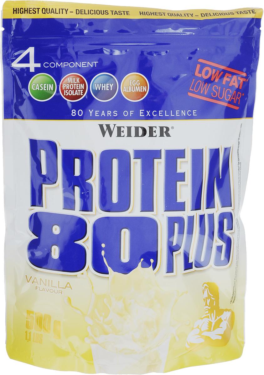 Протеин Weider Protein 80 Plus, ваниль, 500 г30105Протеин Weider Protein 80 Plus - это четырехкомпонентная белковая смесь с высокой биологической ценностью. Содержит 4 вида белка: изолят молочного белка, казеин, сыворотка, яичный альбумин. У каждого из этих белков своя скорость усвоения, что способствует постоянному и равномерному поступлению аминокислот в кровь. Препарат обеспечивает пиковую аминоконцентрацию уже в первые 60 минут после применения и поддерживает ее на протяжении 5 часов. Поэтому мышцы быстро растут и восстанавливаются, при этом растет сила и выносливость спортсмена. Этот протеиновый коктейль создан как дополнение к питанию с целью увеличения количества белка в дневном рационе. Состав: казеинат кальция, концентрат сывороточного протеина, изолят молочного протеина, сухой яичный белок, ароматизатор, загуститель: гуаровая камедь; подсластители: ацесульфам К, аспартам; карбонат кальция, антиоксидант: аскорбиновая кислота; витамин В6. Содержит источник фенилаланина. Содержит лактозу. Может содержать незначительное количество глютена и сои. Энергетическая ценность одной порции (на 300 мл воды): 112 ккал. Пищевая ценность одной порции (на 300 мл воды): жиры 0,5 г, углеводы 2,3 г, белки 25 г. Энергетическая ценность одной порции (на 300 мл молока 1,5% жирности): 256 ккал. Пищевая ценность одной порции (на 300 мл молока 1,5% жирности): жиры 5,3 г, углеводы 17 г, белки 35 г. Товар сертифицирован.Как повысить эффективность тренировок с помощью спортивного питания? Статья OZON Гид