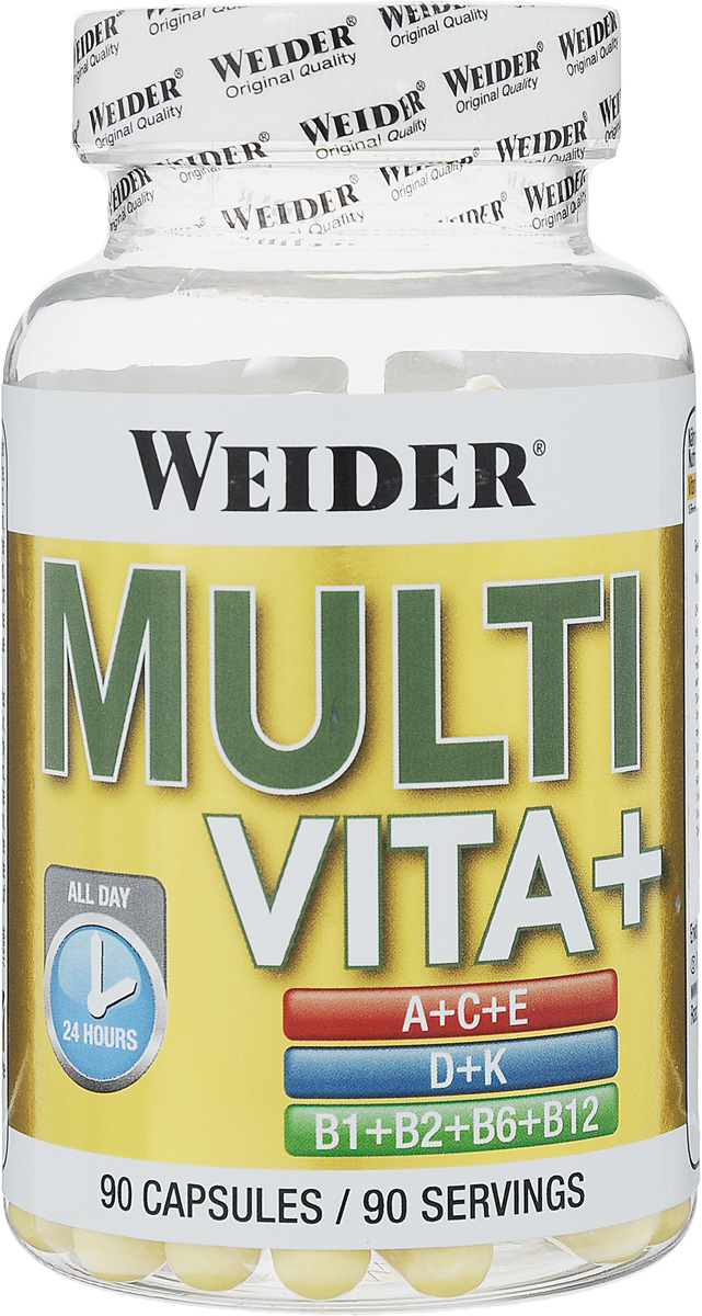 Витаминно-минеральный комплекс Weider Multi Vita+, 90 капсул38551Витаминно-минеральный комплекс Weider Multi Vita+ содержит расширенное количество витаминов в необходимом для активных занятий спортом количестве. Витамин C обеспечивает работу иммунной системы, борющейся против болезнетворных микроорганизмов. Он стимулирует выработку гормонов, нейропептидов и передатчиков нервных импульсов, улучшающих нервную и психическую деятельность. Кроме того, витамин C укрепляет соединительные ткани и стенки сосудов. Витамин Е выполняет защитную функцию, он нейтрализует свободные радикалы, разрушающие полезные жирные кислоты и обеспечивает кислородное дыхание клеток, предотвращает воспалительные процессы и благотворно влияет на половую функцию, омолаживает организм. Витамин В1 укрепляет нервную систему, обеспечивая питание нервных клеток глюкозой. Витамин В2 участвует в углеводном, белковом и жировом обменах, клеточном дыхании, улучшает зрение, структуру кожи и ногтей. Пантотеновая кислота (витамин В3) предотвращает старение, появление морщин, помогает преодолеть стресс и борется с воспалительными процессами, участвует в синтезе кожи и слизистой, росте волос. Витамин В6 играет важную роль в синтезе антител иммунной системы, участвует в аминокислотном обмене при строительстве белков. Витамин В12 запускает синтез ДНК и РНК, необходим для образования костей, оживляет запасы железа в организме. Ниацин участвует в образовании сотен различных ферментов, задействованных в производстве желудочного сока, работе сердца, контроле за холестерином. Фолиевая кислота - главное действующее вещество при производстве гемоглобина и нуклеиновых кислот, синтезирует серотонин и норадреналин - гормоны радости, поднимающие настроение. Способ применения: Принимать одну капсулу с завтраком, запивая водой. Товар не является лекарственным средством. Товар не рекомендован для лиц младше 18 лет. Могут быть противопоказания, и следует предварительно проконсультироваться со специалистом. Состав: витамин С (аск