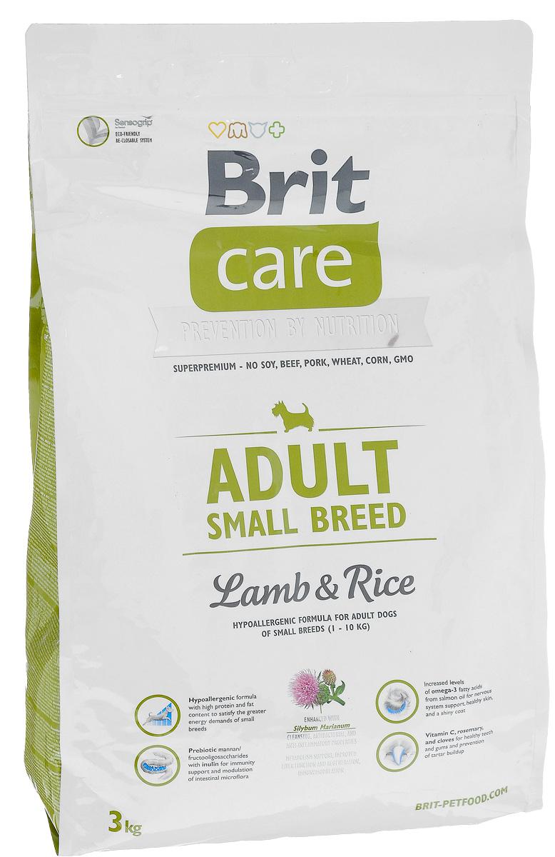 Корм сухой Brit Care Adult Small Breed для собак мелких пород, с ягненком и рисом, 3 кг100202Сухой корм Brit Care Adult Small Breed - это полноценный рацион для собак мелких пород. Оптимальное соотношение Омега-3 и Омега-6 жирных кислот с органическим цинком и медью обеспечивает здоровое состояние кожи и улучшает качество шерсти.Товар сертифицирован.