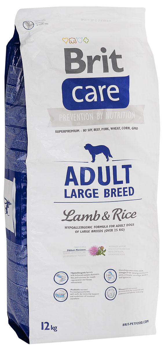 Фото - Корм сухой Brit Care Adult Large Breed для собак крупных пород, с ягненком и рисом, 12 кг корм сухой титбит для собак крупных пород ягненок с рисом 3 кг