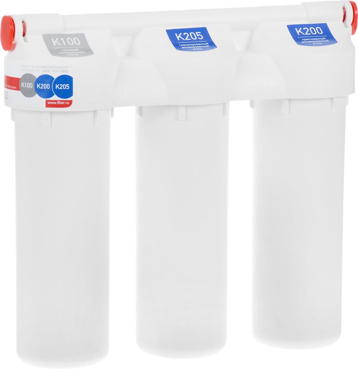 Фильтр под мойку Prio Praktic, для сильно хлорированной водыEU 200Фильтр под мойку Prio Praktic обеспечивает универсальную очистку водопроводной воды от распространенных загрязнителей: механических примесей (ржавчины, ила, песка), свободного хлора, хлорорганических соединений, пестицидов, гербицидов, сельскохозяйственных удобрений и продуктов их распада, фенолов, нефтепродуктов, алюминия, тяжелых металлов, радиоактивных элементов и иных органических и неорганических веществ. Устраняет неприятные запахи, улучшает вкус воды. Рекомендуется для регионов с водой, характеризующейся нормальным и пониженным содержанием солей жесткости.Выдерживает давление воды до 28 Атм.В комплект уже входят картриджи, отдельный кран для очищенной воды и все необходимое для быстрой установки фильтра на месте эксплуатации.Установленные картриджи:Картридж механической очистки K100. Нетканый полимер 5 мкм.Сорбционный картридж K205. Гранулированный активированный уголь из скорлупы кокосового ореха.Сорбционный картридж K200. Прессованный активированный уголь.