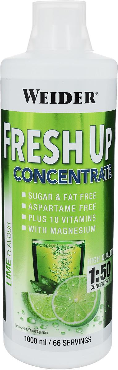 Концентрат витаминно-минеральный Weider Fresh Up, лайм, 1 л37841Витаминно-минеральный концентрат Weider Fresh Up содержит углеводы, витамины и минералы. Во время интенсивных тренировок с потом вы теряете минералы и влагу. Концентрат восполняет потери воды, витаминов и минералов, содержит небольшое количество углеводов для восстановления углеводного баланса. Плюс ко всему Fresh Up имеет потрясающий вкус. Не содержит сахара, жиров и аспартама. Содержит 10 витаминов и магний. Рекомендации по применению: Пейте 1 порцию во время или после тренировок для восстановления солевого и углеводного баланса. Рекомендации по приготовлению:Развести 15 мл (1/2 мерной крышки) концентрата в 750 мл воды. Состав: инвертированный сахарный сироп, лимонная кислота, вода, хлорид калия, цикламат натрия, сахарин натрия, кальция хлорид, карбонат магния, хлорид калия, витамин С, ниацин, витамин Е, пантотеновая кислота, витамин В6, рибофлавин, тиамин, фолиевая кислота, витамин В12, красители. Товар сертифицирован. Как повысить эффективность тренировок с помощью спортивного питания? Статья OZON Гид