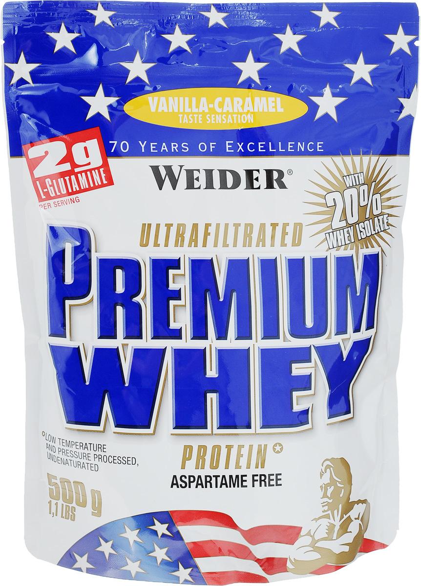Протеин сывороточный Weider Premium Whey, ваниль-карамель, 500 г30035Протеин Weider Premium Whey - это порошок для приготовления напитка на основе сывороточного протеина, содержит L-глутамин, витамин В6, кальций и подсластители. Отличное диетическое питание для спортсменов, предназначенное для компенсации расходов при интенсивной мышечной нагрузке. Сывороточный протеин обладает приятным вкусом и наивысшей биологической ценностью, отвечает всем физиологическим потребностям, лучше всего переносится организмом и дает прирост чистой мышечной массы. В качестве сырья используется микрофильтрованный протеин, который не выносит высоких температур и высокого давления. В состав продукта входят важнейшие аминокислоты с разветвленной структурой (BCAA), которые не дадут вашим мышцам мучиться от катаболизма, и глутамин. Premium Whey также содержит глобулин и гликомакропептиды, которые являются биологически активными веществами. Они способствуют укреплению здоровья подобно пробиотикам или Омега-3 жирным кислотам. В Premium Whey содержатся бета- и альфа-лактоглобулины, которые регулируют кислотно-щелочной баланс и являются поставщиками энергии. Иммуноглобулины укрепляют защитные силы организма, а гликомакропептиды контролируют аппетит. Не содержит аспартама. Состав: концентрат сывороточного протеина, изолят сывороточного протеина, L-глютамин, ароматизатор, эмульгатор: соевый лецитин; краситель: Е150с; подсластители: цикламат натрия, ацесульфам К, сахарин натрия; карбонат кальция, витамин В6. Содержит лактозу. Возможно содержание незначительного количества глютена, сои и яиц. Энергетическая ценность одной порции (на 300 мл воды): 120 ккал. Пищевая ценность одной порции (на 300 мл воды): жиры 1,6 г, углеводы 2 г, белки 24 г. Энергетическая ценность одной порции (на 300 мл молока 1,5% жирности): 261 ккал. Пищевая ценность одной порции (на 300 мл молока 1,5% жирности): жиры 6,1 г, углеводы 16 г, белки 35 г. Товар сертифицирован.Как повысить эффективность тренировок с помощью спортивног