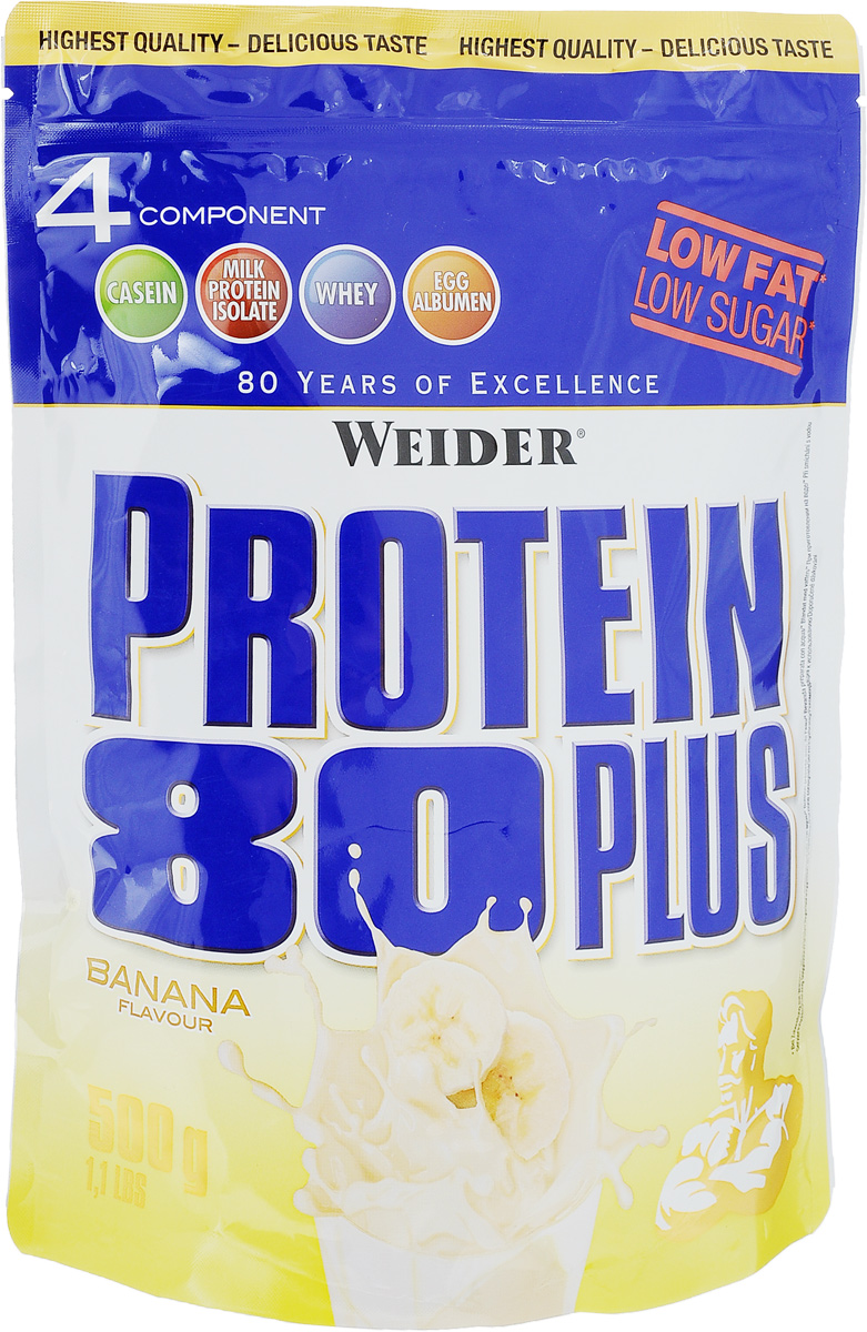 Протеин Weider Protein 80 Plus, банан, 500 г30155Протеин Weider Protein 80 Plus - это четырехкомпонентная белковая смесь с высокой биологической ценностью. Содержит 4 вида белка: изолят молочного белка, казеин, сыворотка, яичный альбумин. У каждого из этих белков своя скорость усвоения, что способствует постоянному и равномерному поступлению аминокислот в кровь. Препарат обеспечивает пиковую аминоконцентрацию уже в первые 60 минут после применения и поддерживает ее на протяжении 5 часов. Поэтому мышцы быстро растут и восстанавливаются, при этом растет сила и выносливость спортсмена. Этот протеиновый коктейль создан как дополнение к питанию с целью увеличения количества белка в дневном рационе. Состав: казеинат кальция, концентрат сывороточного протеина, изолят молочного протеина, банановые хлопья, сухой яичный белок, ароматизатор, загуститель: гуаровая камедь, подсластители: ацесульфам К, аспартам; карбонат кальция, краситель: бета-каротин; антиоксидант: аскорбиновая кислота; витамин В6. Содержит источник фенилаланина. Содержит лактозу. Может содержать незначительное количество глютена и сои. Энергетическая ценность одной порции (на 300 мл воды): 110 ккал. Пищевая ценность одной порции (на 300 мл воды): жиры 0,5 г, углеводы 2,3 г, белки 24 г. Энергетическая ценность одной порции (на 300 мл молока 1,5% жирности): 254 ккал. Пищевая ценность одной порции (на 300 мл молока 1,5% жирности): жиры 5,3 г, углеводы 17 г, белки 34 г. Товар сертифицирован.Как повысить эффективность тренировок с помощью спортивного питания? Статья OZON Гид