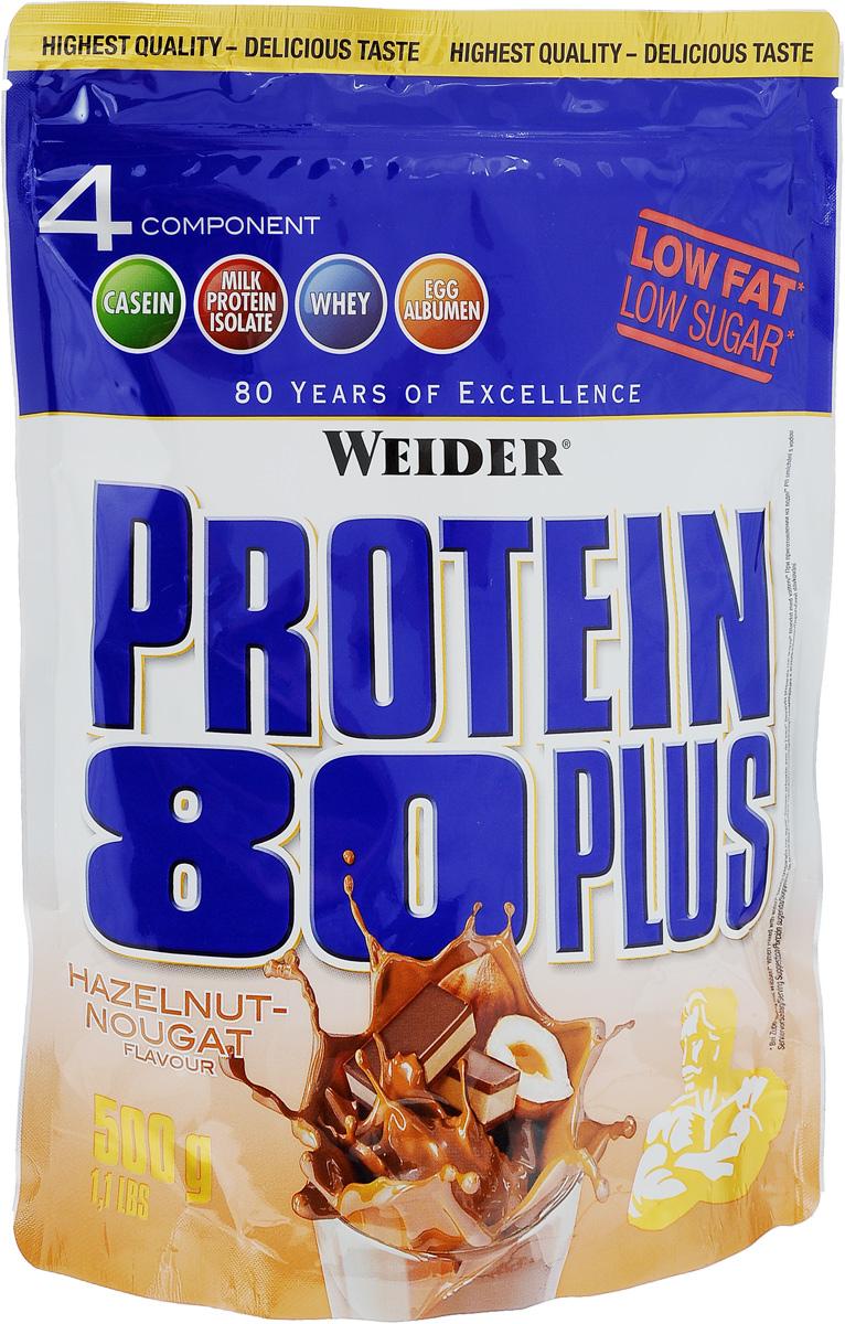 Протеин Weider Protein 80 Plus, лесной орех и нуга, 500 г30095Протеин Weider Protein 80 Plus - это четырехкомпонентная белковая смесь с высокой биологической ценностью. Содержит 4 вида белка: изолят молочного белка, казеин, сыворотка, яичный альбумин. У каждого из этих белков своя скорость усвоения, что способствует постоянному и равномерному поступлению аминокислот в кровь. Препарат обеспечивает пиковую аминоконцентрацию уже в первые 60 минут после применения и поддерживает ее на протяжении 5 часов. Поэтому мышцы быстро растут и восстанавливаются, при этом растет сила и выносливость спортсмена. Этот протеиновый коктейль создан как дополнение к питанию с целью увеличения количества белка в дневном рационе. Состав: казеинат кальция, концентрат сывороточного протеина, изолят молочного протеина, маложирный порошок какао, сухой яичный белок, ароматизатор, подсластители: ацесульфам К, цикламат натрия, сукралоза; загуститель: гуаровая камедь; краситель Е150с; карбонат кальция, антиоксидант: аскорбиновая кислота; витамин В6. Содержит лактозу. Может содержать незначительное количество глютена и сои. Энергетическая ценность одной порции (на 300 мл воды): 112 ккал. Пищевая ценность одной порции (на 300 мл воды): жиры 0,5 г, углеводы 2,1 г, белки 25 г. Энергетическая ценность одной порции (на 300 мл молока 1,5% жирности): 256 ккал. Пищевая ценность одной порции (на 300 мл молока 1,5% жирности): жиры 5,3 г, углеводы 17 г, белки 35 г. Товар сертифицирован.Как повысить эффективность тренировок с помощью спортивного питания? Статья OZON Гид