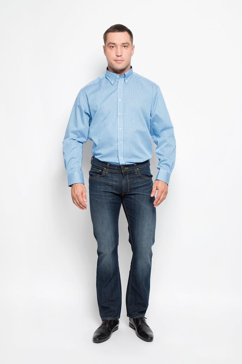 Рубашка мужская Eterna, цвет: голубой, белый. 4356_18_X145_40-46. Размер 414356_18_X145_40-46Стильная мужская рубашка Eterna, выполненная из натурального хлопка подчеркнет ваш уникальный стиль и поможет создать оригинальный образ. Такой материал великолепно пропускает воздух, обеспечивая необходимую вентиляцию, а также обладает высокой гигроскопичностью. Рубашка с длинными рукавами и отложным воротником застегивается на пуговицы спереди. Манжеты рукавов также застегиваются на пуговицы. Изделие украшено принтом в мелкую клетку. Классическая рубашка - превосходный вариант для базового мужского гардероба и отличное решение на каждый день.Такая рубашка будет дарить вам комфорт в течение всего дня и послужит замечательным дополнением к вашему гардеробу.