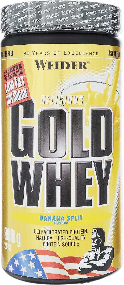 Протеин сывороточный Weider Gold Whey, банан, 908 г протеин prime kraft whey клубника банан