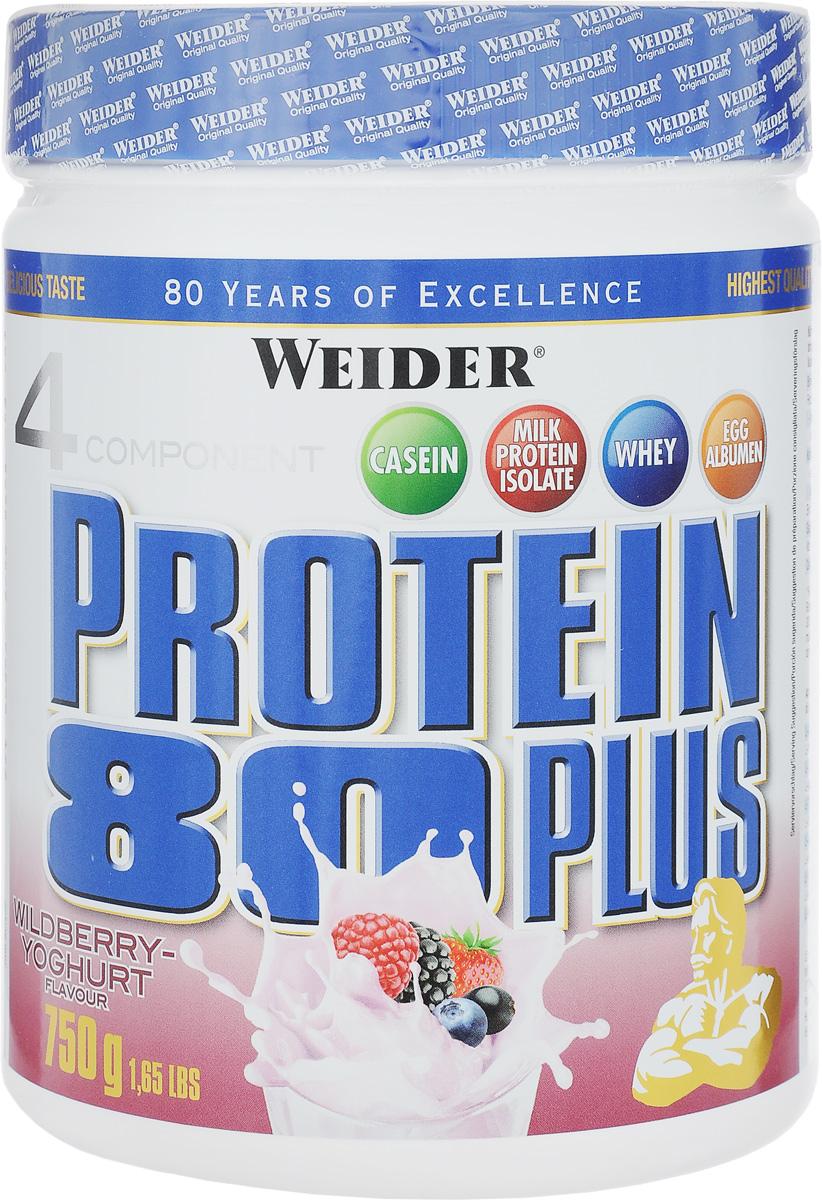 Протеин Weider Protein 80 Plus, лесные ягоды-йогурт, 750 г30181Протеин Weider Protein 80 Plus - это четырехкомпонентная белковая смесь с высокой биологической ценностью. Содержит 4 вида белка: изолят молочного белка, казеин, сывороточный протеин, яичный альбумин. Молочный белок (казеин): обеспечивает мускулатуру протеином в течение семи часов, содержит большое количество ВСАА. Изолят молочного белка: в сухом веществе содержится более 90% протеина. Это означает очень низкое содержание жиров и углеводов. Белок молочной сыворотки (Whey): быстро усваиваемый протеин. Снабжает мускулатуру L-глютамином. Яичный белок (альбумин): содержит так называемые сернистые аминокислоты. Это повышает биологическую ценность продукта. У каждого из этих белков своя скорость усвоения, что способствует постоянному и равномерному поступлению аминокислот в кровь. Препарат обеспечивает пиковую аминоконцентрацию уже в первые 60 минут после применения и поддерживает ее на протяжении 5 часов. Поэтому мышцы быстро растут и восстанавливаются, при этом растет сила и выносливость спортсмена. Этот протеиновый коктейль создан как дополнение к питанию с целью увеличения количества белка в дневном рационе. Рекомендации по применению: Принимать по 2-3 порции в день между основными приемами пищи. Также возможно употреблять 1 порцию после тренировки и перед сном. Приготовление: 30 г порошка растворить в 300 мл молока до 1,5% жирности. Состав: казеин, изолят сывороточного протеина, концентрат сывороточного протеина, яичный белок, ацесульфам калия, аспартам, пиридоскин, гуаровая смола.Энергетическая ценность (на 300 мл молока): 254 ккал. Пищевая ценность (на 300 мл молока): жиры 5,3 г, углеводы 17 г, белки 34 г. Товар сертифицирован.Как повысить эффективность тренировок с помощью спортивного питания? Статья OZON Гид