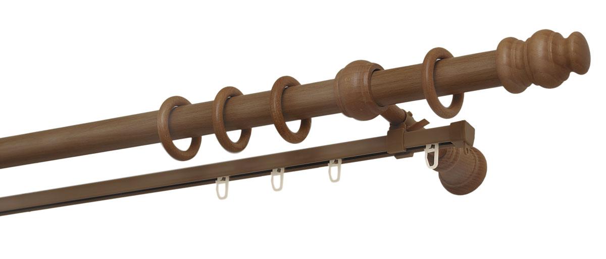 Карниз двухрядный Уют, деревянный, составной, цвет: вишня, диаметр 28 мм, длина 2,5 м28.02ТО.37С.250Двухрядный круглый карниз Уют Ост выполнен из высококачественного дерева. Подходит для использования двух видов занавесей. Поверхность гладкая. Способ крепления настенное.В комплект входят 2 штанги, 4 наконечника, 3 кронштейна с крепежом и 52 кольца с крючками.Такой карниз будет органично смотреться в любом интерьере.Диаметр карниза: 28 мм.