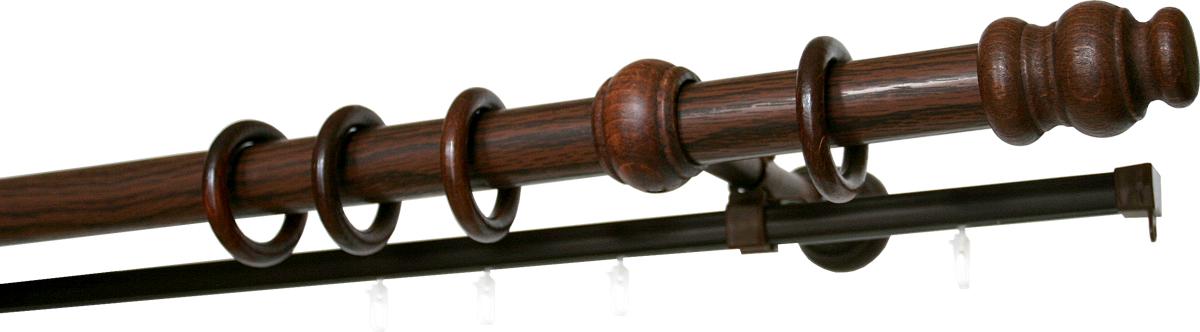 """Двухрядный круглый карниз """"Уют"""" выполнен из  высококачественного дерева. Подходит для  использования двух видов занавесей. Поверхность  гладкая. Способ крепления настенное.   В комплект входят 2 штанги, 4 наконечника, 3  кронштейна с крепежом и 52 кольца с крючками.   Такой карниз будет органично смотреться в любом  интерьере.   Диаметр карниза: 28 мм."""