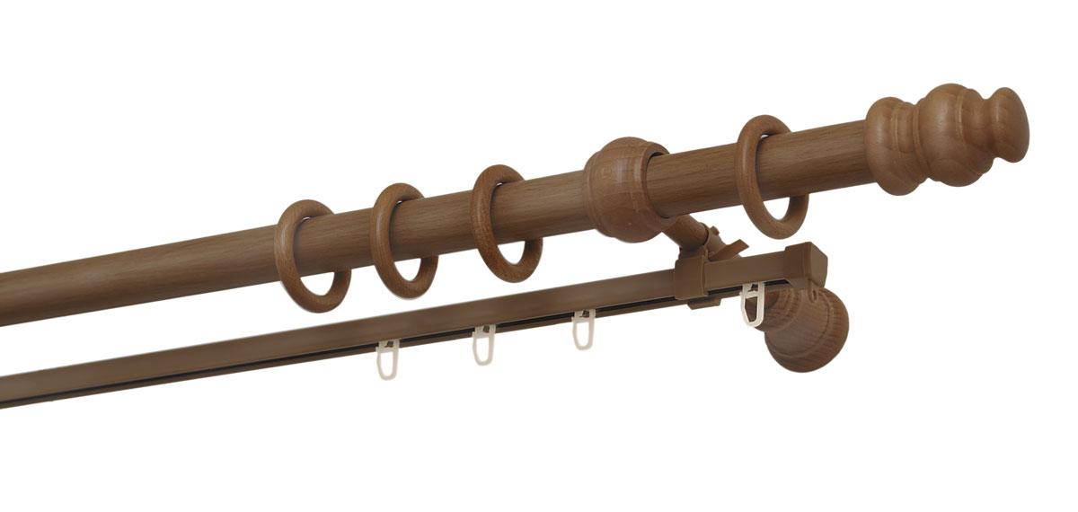 """Двухрядный круглый карниз Уют """"Ост"""" выполнен из высококачественного дерева. Подходит для использования двух видов занавесей. Поверхность гладкая. Способ крепления настенное.  В комплект входят 2 штанги, 4 наконечника, 3 кронштейна с крепежом и 56 колец с крючками.  Такой карниз будет органично смотреться в любом интерьере.  Диаметр карниза: 28 мм."""