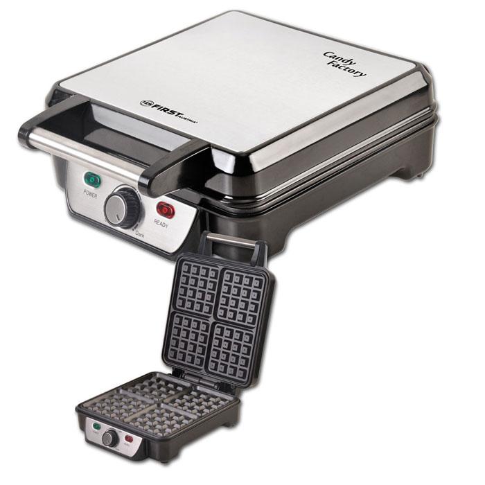 First FA-5305-3, Black вафельницаFA-5305-3 BlackВафельница First FA-5305-3 позволит приготовить 4 порции вафель в форме квадратиков. Прибор имеет мощность 1100 Вт, антипригарное покрытие, а также удобный регулируемый термостат. Полную информативность о состоянии вафельницы обеспечат индикатор питания и готовности к работе.