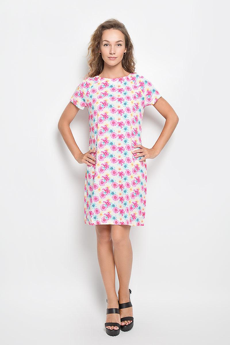 Платье F5 Rayon, цвет: светло-желтый, розовый. 160267_13838. Размер L (48)160267_13838Элегантное платье F5 выполнено из высококачественной вискозы. Такое платье обеспечит вам комфорт и удобство при носке и непременно вызовет восхищение у окружающих.Модель средней длины с короткими рукавами-реглан и круглым вырезом горловины выгодно подчеркнет все достоинства вашей фигуры. Изделие оформлено оригинальным цветочным принтом. Изысканное платье-миди создаст обворожительный и неповторимый образ.Это модное и комфортное платье станет превосходным дополнением к вашему гардеробу, оно подарит вам удобство и поможет подчеркнуть ваш вкус и неповторимый стиль.