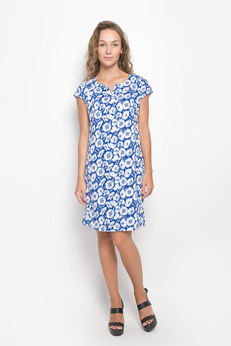 Платье F5, цвет: голубой, белый. 160220_13840. Размер M (46)160220_13840Элегантное платье F5 выполнено из высококачественного комбинированного материала. Такое платье обеспечит вам комфорт и удобство при носке и непременно вызовет восхищение у окружающих.Модель средней длины с короткими цельнокроеными рукавами и V-образным вырезом горловины выгодно подчеркнет все достоинства вашей фигуры. Изделие оформлено оригинальным цветочным принтом. Изысканное платье-миди создаст обворожительный и неповторимый образ.Это модное и комфортное платье станет превосходным дополнением к вашему гардеробу, оно подарит вам удобство и поможет подчеркнуть ваш вкус и неповторимый стиль.
