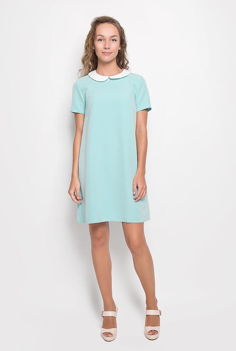 Платье F5, цвет: мятный, белый. 13839. Размер M (46)13839Элегантное платье F5 выполнено из высококачественного комбинированного материала. Такое платье обеспечит вам комфорт и удобство при носке и непременно вызовет восхищение у окружающих.Модель средней длины с короткими рукавами и отложным воротником выгодно подчеркнет все достоинства вашей фигуры. Сзади изделие застегивается на пуговичку. Изысканное платье-миди создаст обворожительный и неповторимый образ.Это модное и комфортное платье станет превосходным дополнением к вашему гардеробу, оно подарит вам удобство и поможет подчеркнуть ваш вкус и неповторимый стиль.