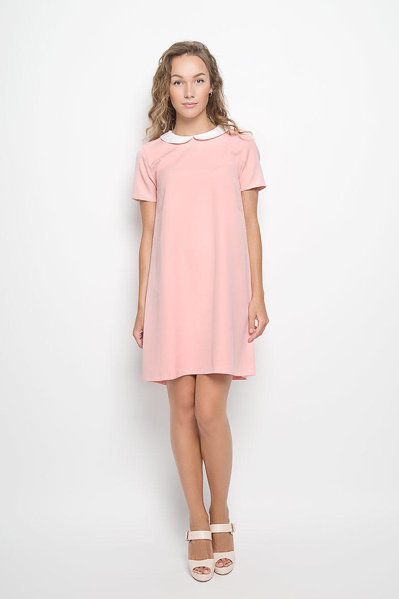 Платье F5, цвет: светло-розовый, белый. 13839. Размер M (46)13839Элегантное платье F5 выполнено из высококачественного комбинированного материала. Такое платье обеспечит вам комфорт и удобство при носке и непременно вызовет восхищение у окружающих.Модель средней длины с короткими рукавами и отложным воротником выгодно подчеркнет все достоинства вашей фигуры. Сзади изделие застегивается на пуговичку. Изысканное платье-миди создаст обворожительный и неповторимый образ.Это модное и комфортное платье станет превосходным дополнением к вашему гардеробу, оно подарит вам удобство и поможет подчеркнуть ваш вкус и неповторимый стиль.