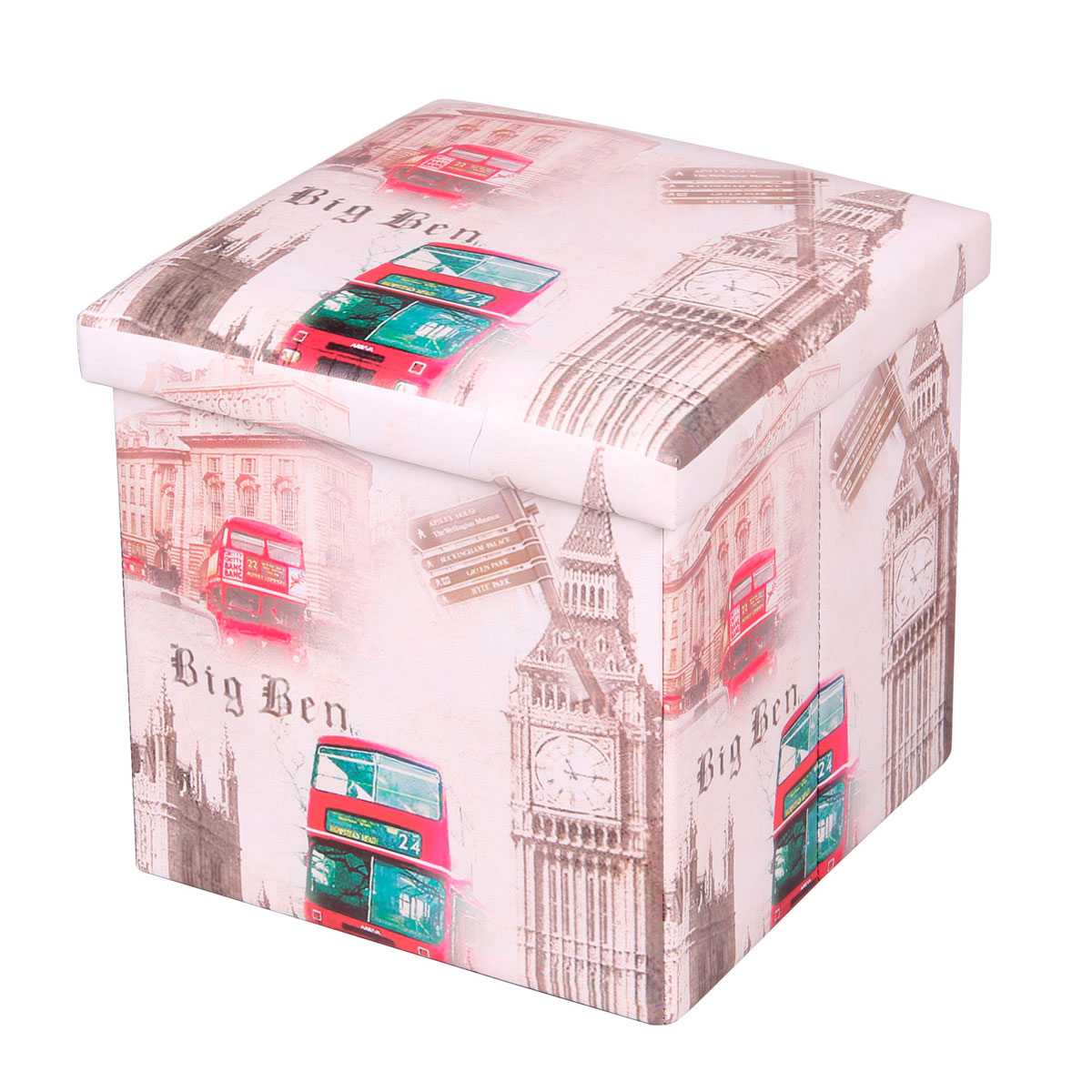 Пуф-короб для xранения Miolla, цвет: белый, красный, коричневый, 38 x 38 x 38 см. PSS-13 короб для xранения miolla круги 30 x 40 x 18 см sbb 04