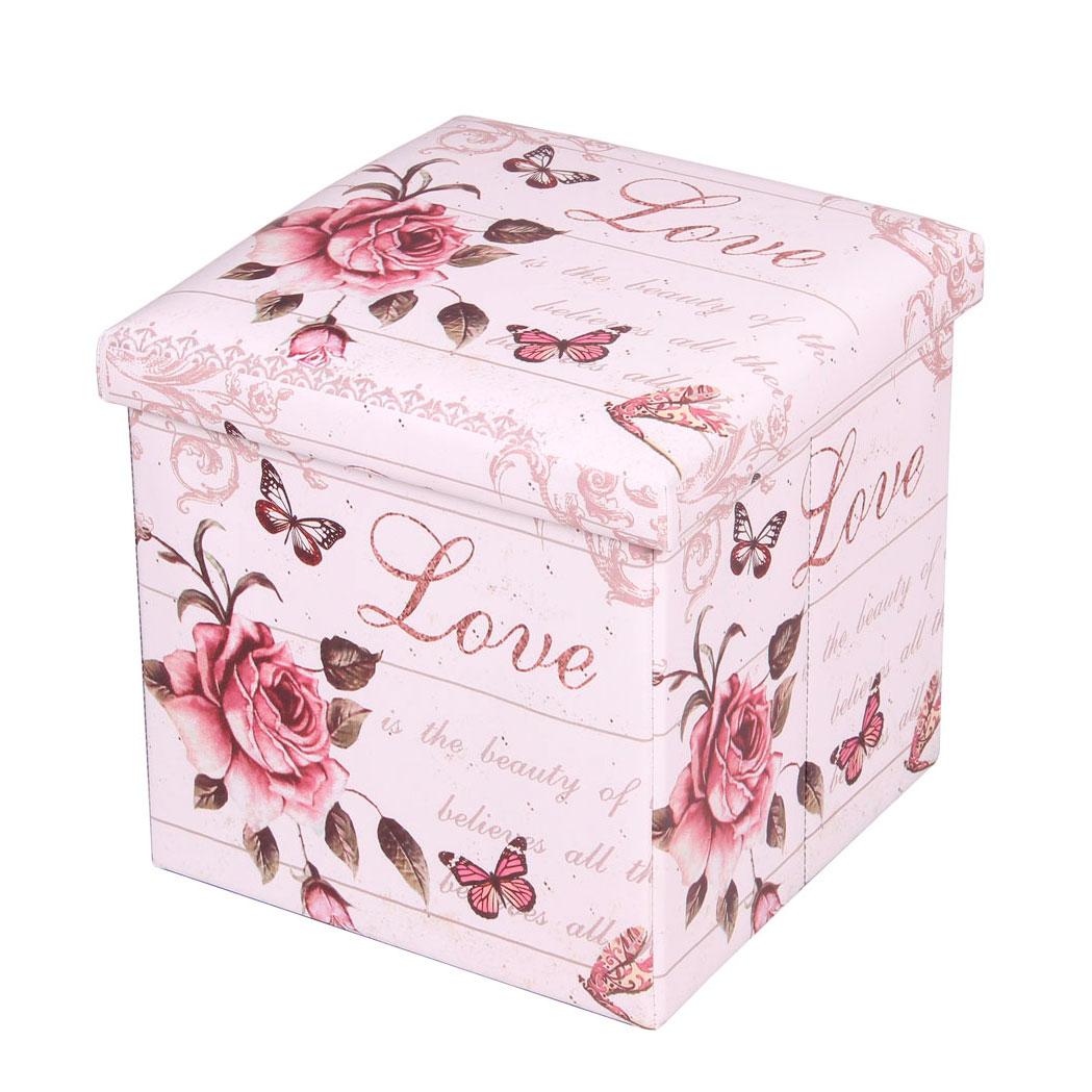 Пуф-короб для xранения Miolla, цвет: белый, розовый, 38 x 38 x 38 см. PSS-17 короб для xранения miolla круги 30 x 40 x 18 см sbb 04