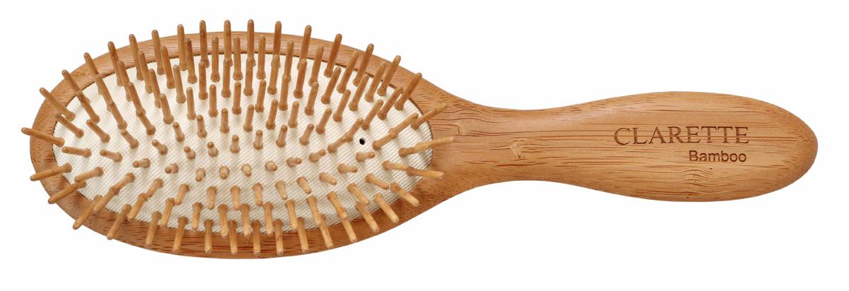 Clarette Щетка для волос на подушке с бамбуковыми зубцами, цвет: рыжийCBB 336Коллекция Сlarette Bamboo-это щетки для волос из натурального бамбукового дерева. Щетки из бамбука более прочные, легкие и долговечные, чем из обычного дерева. На обратной стороне щеток -зареная гравировка с изображением бамбука. Щетка на большой подушке идеально прочесывает даже густые и длинные волосы. Натуральные бамбуковые зубья бережно ухаживают за волосами, не повреждая их структуры. Подходит для ежедневного применения.