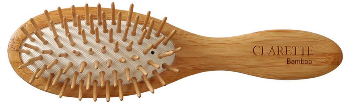 Clarette Щетка для волос на подушке с бамбуковыми зубцами компакт, цвет: рыжийCBB 337Коллекция Сlarette Bamboo-это щетки для волос из натурального бамбукового дерева. Щетки из бамбука более прочные, легкие и долговечные, чем из обычного дерева. На обратной стороне щеток -зареная гравировка с изображением бамбука. Щетка на подушке идеально прочесывает даже густые и длинные волосы. Натуральные бамбуковые зубья бережно ухаживают за волосами, не повреждая их структуры. Подходит для ежедневного применения. Компактный размер щетки делает ее удобной в дороге. Легко помещается в дамской сумочке