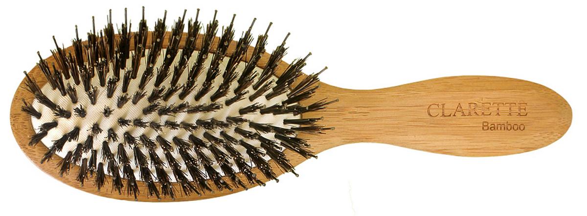 Clarette Щетка для волос на подушке со смешанной щетиной, цвет: рыжийCBB 340Коллекция Сlarette Bamboo-это щетки для волос из натурального бамбукового дерева. Щетки из бамбука более прочные, легкие и долговечные, чем из обычного дерева. На обратной стороне щеток -зареная гравировка с изображением бамбука. Натуральная щетина дикого кабана придает блеск, предовращает ломкость и сечение волос. Пластиковые зубья с массажными шариками на концах обеспечивают качественный массаж кожи головы, идеально причесыват волосы.