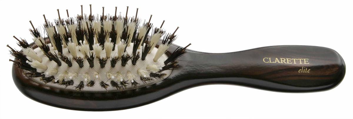 Щетка для волос на подушке со смешанной щетиной компакт, цвет: коричневыйCEB 335Clarette Elite представляет серию Шоколад. Это интересная коллекция инструментов по уходу за волосами. Она несомненно понравится покупателям, которые ценят стиль и качество. Инструменты Коллекции изготовлены из натурального дерева, имеющего оригинальный окрас. Натуральная щетина дикого кабана придает волосам блеск, предотвращает ломкость и сечение волос. Пластиковые зубья с массажными шариками на концах обеспечивают качественный массаж кожи головы, идеально причесывают волосы. Компактный размер щетки делает ее удобной в дороге. Легко помещается в дамской сумочке. Инструменты предназначены как для домашнего, так и для профессионального использования.