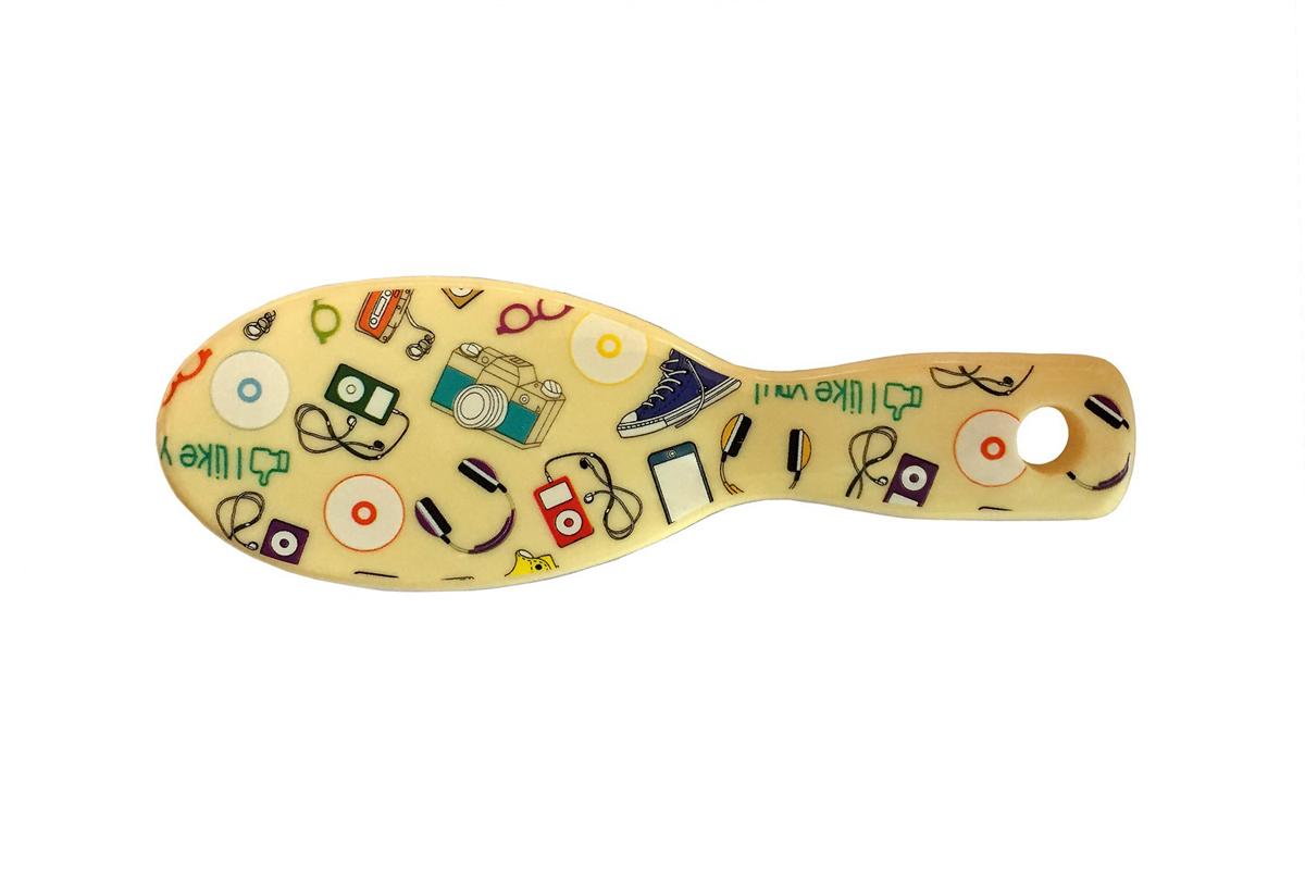 ClaretteЩетка для волос компакт с ультратонкой пластиковой щетиной желтая с принтом Clarette