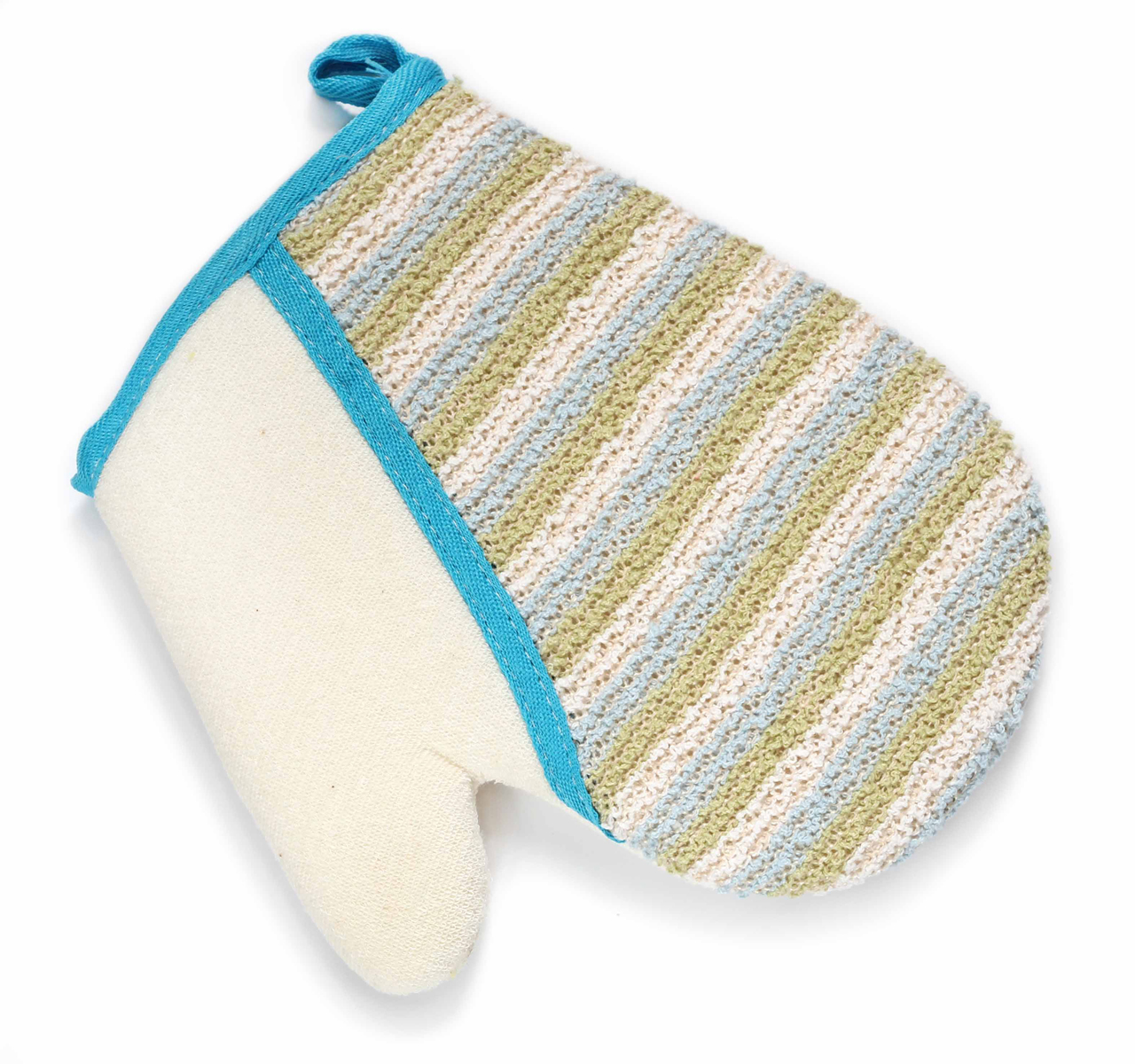 Silva Мочалка-рукавица, хлопок-сизаль, цвет: бежевый с синей голубой мочалка рукавица banika сизаль м444