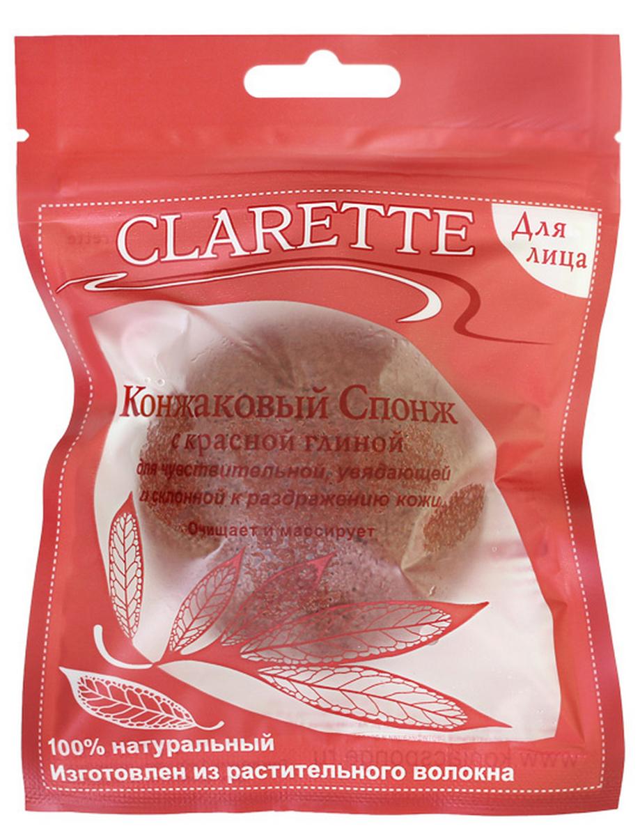 Clarette Конжаковый спонж с красной глиной для лица,красныйCKS 480Конжаковый спонж с красной глины для лица. Подходит для чувствительной, увядающей, и склонной к раздражению кожи . Очищает и массирует 100% натуральный. Изготовлен из растительного волокна. Растение Конжак выращивается в горах Японии и Китая и имеет более 2000-летнюю историю применения в оздоровительном питании и косметологии. Конжаковые спонжи изготавливаются из 100% чистого натурального конжакового волокна, богатого своими полезными компонентами. Один из них, глюкоманан, способствует мягкому удалению отмершего рогового слоя кожи, бережно и тщательно очищает поры, не повреждая поверхностть кожи, делает ее сияющей и ослепительно чистой. Благодаря глюкоманану, конжаковое волокно имеет удивительную способность удерживать воду делая спонж невероятно мягким и нежным. Благодаря необычайно мягкой структуре, спонж аккуратно очищает, массирует и увлажняет кожу, придавая ей натуральный блеск, и, мягко отшелушивает кожу, деликатно массирует, улучшая кровообращение кожи лица, оказывает противовоспалительное действие снимает воспаления, заживляет микроповреждения кожи, улучшает цвета лицаомолаживает кожу и устраняет морщины, оказывает успокаивающий эффект при аллергии или укусах насекомых; мягко отшелушивает кожу, придает естественный блеск, сохраняет естественный рН баланс кожи, не вызывает раздражений, являясь природным антиаллергеном, улучшает структуру кожи, ее эластичность и упругость, 100 % натуральный