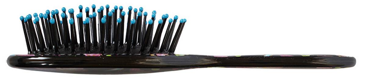 Clarette Щетка для волос на подушке компакт, цвет: черный с принтомCEB 435Коллекцию Clarette Butterfly отличается удивительной яркость цветов, порхающих экзотических бабочек на щетках для волос- это нечто совершенно новое и неординарное. Пластмассовые зубья с массажными шариками на концах оказывает легкое массажное воздействие на кожу головы. Компактный размер щетки делает ее удобной в дороге. Легко помещается в дамской сумочке