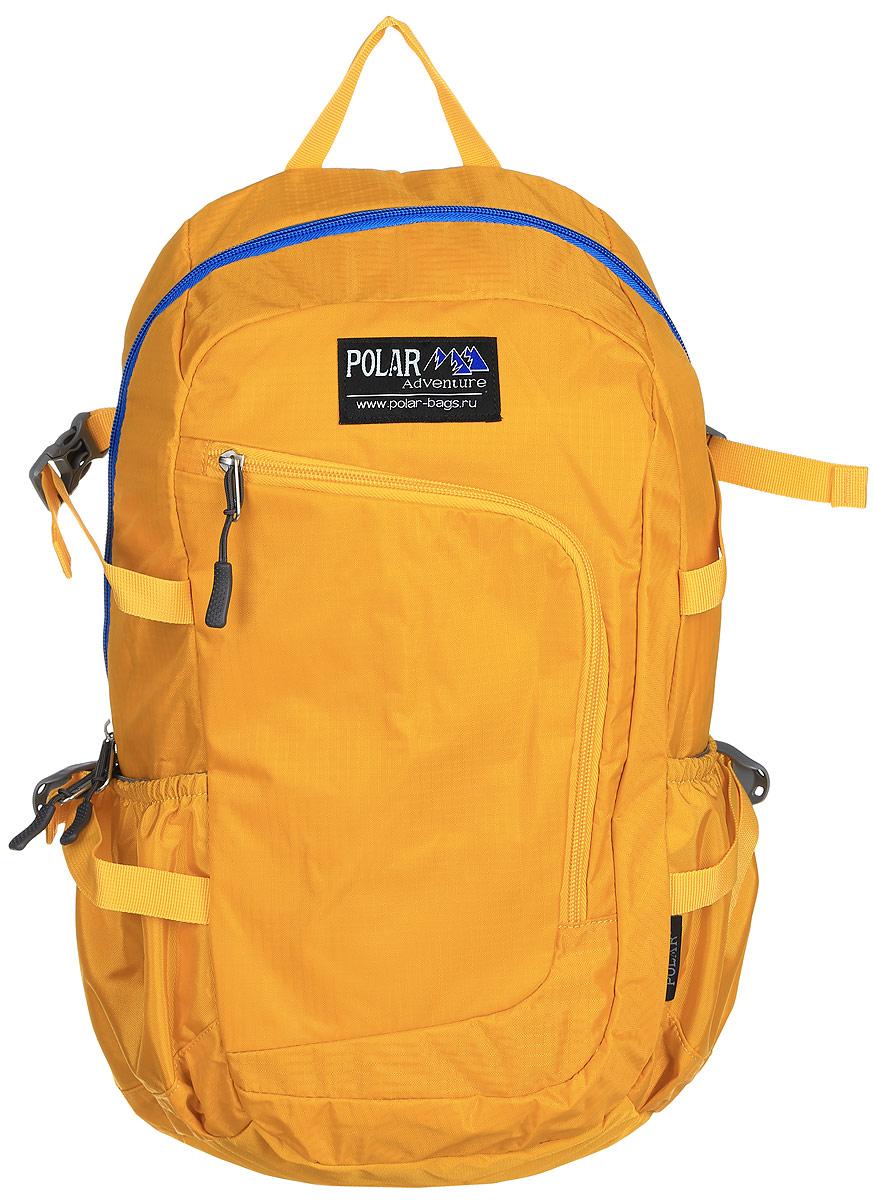 Рюкзак городской Polar, 17 л, цвет: желтый. П2171-03П2171-03Городской рюкзак Polar с модным дизайном изготовлен из водоотталкивающей ткани RipStop. Имеет один большой отдел, внутри которого расположен небольшой карман на молнии и большой открытый карман на резинке. Снаружи накладной карман на молнии с расположенным внутри органайзером. По бокам расположены карманы на резинках. Также имеются боковые стяжки для регулирования объема рюкзака. Удобная мягкая спинка, мягкие плечевые лямки создают дополнительный комфорт при ношении. На лямках расположена грудная стяжка, регулируемая по необходимой высоте и длине. Сверху петля для переноски.