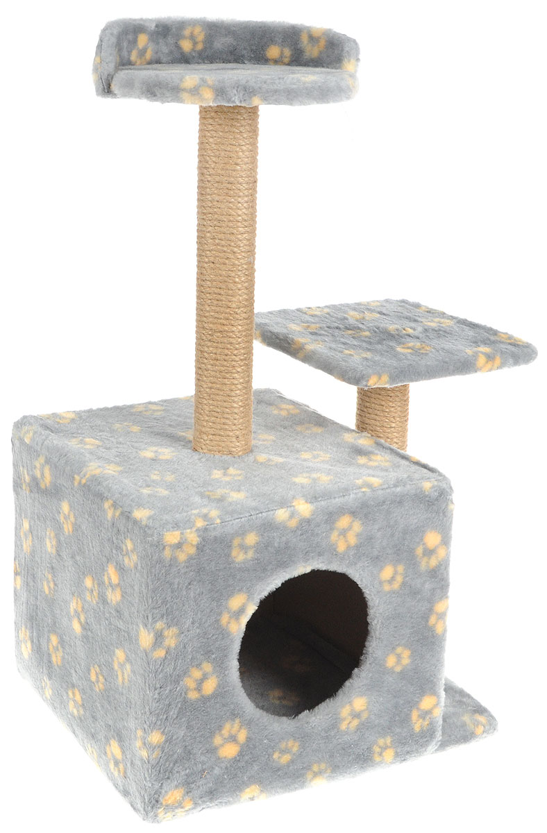 Игровой комплекс для кошек Меридиан, с домиком и когтеточкой, цвет: серый, желтый, бежевый, 35 х 45 х 75 смД130 Ла_серый, желтыйИгровой комплекс для кошек Меридиан выполнен из высококачественного ДВП и ДСП и обтянут искусственным мехом. Изделие предназначено для кошек. Ваш домашний питомец будет с удовольствием точить когти о специальные столбики, изготовленные из джута. А отдохнуть он сможет либо на полках разной высоты, либо в расположенном внизу домике.Общий размер: 35 х 45 х 75 см.Размер домика: 46 х 37 х 33 см.Высота полок (от пола): 74 см, 45 см.Размер полок: 27 х 27 см, 26 х 26 см.