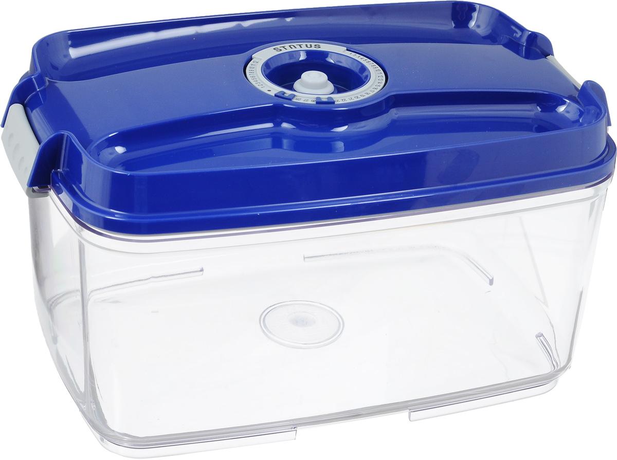 Контейнер вакуумный Status, с индикатором даты срока хранения, цвет: прозрачный, синий, 4,5 лVAC-REC-45 BlueВакуумный контейнер Status выполнен из хрустально-прозрачного прочного тритана. Благодаря вакууму, продукты не подвергаются внешнему воздействию, и срок хранения значительно увеличивается, сохраняют свои вкусовые качества и аромат, а запахи в холодильнике не перемешиваются. Допускается замораживание до -21°C, мойка контейнера в посудомоечной машине, разогрев в СВЧ (без крышки). Рекомендовано хранение следующих продуктов: макаронные изделия, крупа, мука, кофе в зёрнах, сухофрукты, супы, соусы. Контейнер имеет индикатор даты, который позволяет отмечать дату конца срока годности продуктов.Размер контейнера (с учетом крышки): 29,5 х 18,5 х 15,5 см.