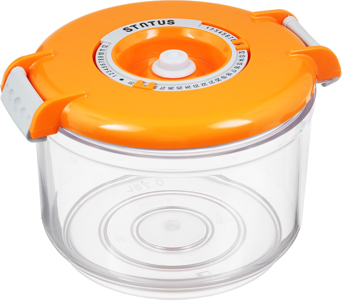 Контейнер вакуумный Status, с индикатором даты срока хранения, 0,75 лVAC-RD-075 OrangeВакуумный контейнер Status выполнен из хрустально-прозрачного прочного тритана. Благодаря вакууму, продукты не подвергаются внешнему воздействию, и срок хранения значительно увеличивается, сохраняют свои вкусовые качества и аромат, а запахи в холодильнике не перемешиваются. Допускается замораживание до -21°C, мойка контейнера в посудомоечной машине, разогрев в СВЧ (без крышки). Рекомендовано хранение следующих продуктов: макаронные изделия, крупа, мука, кофе в зёрнах, сухофрукты, супы, соусы. Контейнер имеет индикатор даты, который позволяет отмечать дату конца срока годности продуктов.Размер контейнера (с учетом крышки): 13 х 13 х 10 см.