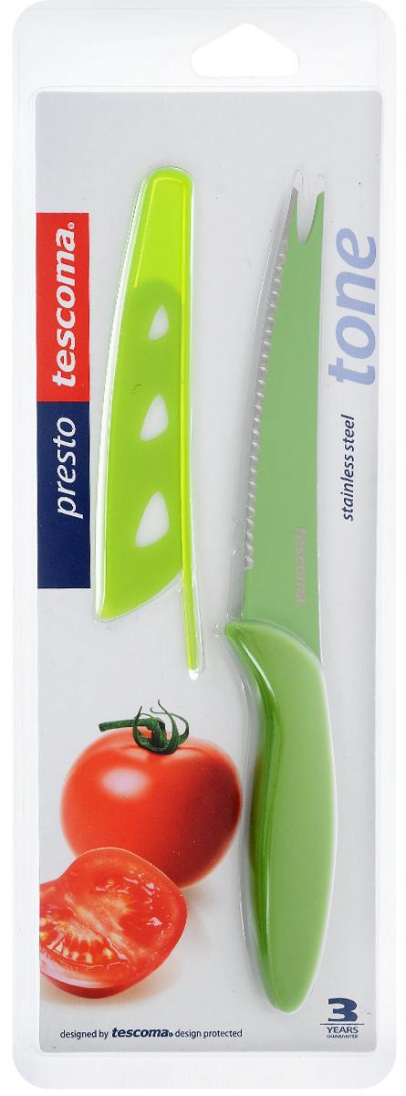 Нож для нарезки овощей Tescoma Presto Tone, с чехлом, цвет: салатовый, длина лезвия 12 см863084_салатовыйНож Tescoma Presto Tone предназначен специально для бережного нарезания овощей. Лезвие выполнено из высококачественной нержавеющей стали с антиадгезивным покрытием, а ручка из прочного пластика. Продукты не прилипают к лезвию. Изделие легко чиститься. В комплект входит защитный чехол для бережного хранения. Можно мыть в посудомоечной машине, не рекомендуется использовать металлические губки и абразивные чистящие средства. Общая длина ножа: 23 см.Длина лезвия: 12 см.