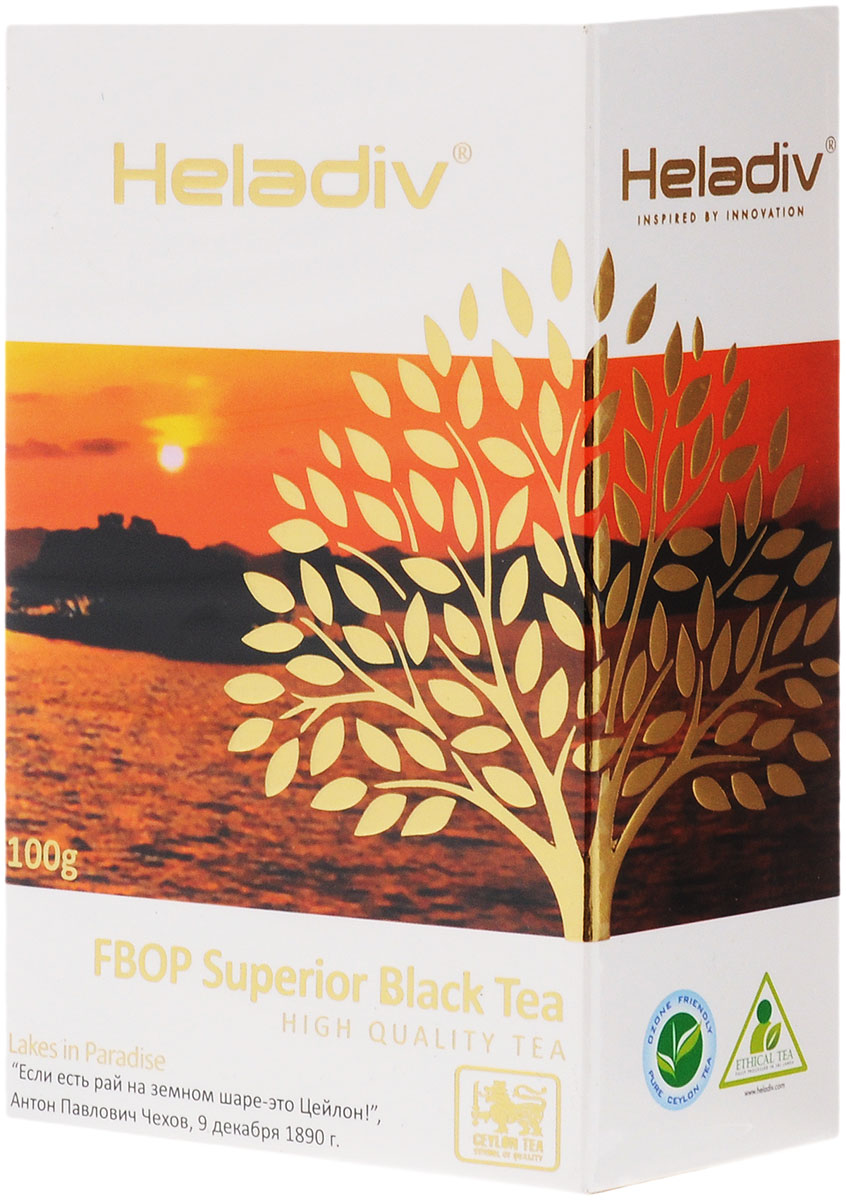 Heladiv FBOP Superior чай черный листовой с типсами, 100 г4791007008316Heladiv FBOP Superior - резаный черный байховый чай, содержащий не слишком скрученные листья со значительной примесью листовых почек - типсов. Содержание типсов придает этому чаю дополнительный аромат и вкус, они являются природным источником антиоксидантов. Данный напиток обладает приятным, насыщенным вкусом, изысканным ароматом и настоем темного цвета.Всё о чае: сорта, факты, советы по выбору и употреблению. Статья OZON Гид