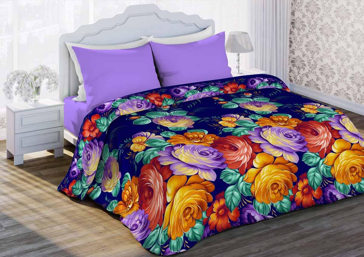 Комплект белья Любимый дом Жостово, 1,5-спальный, наволочки 70x70, цвет: фиолетовый любимый дом н70х70 моника