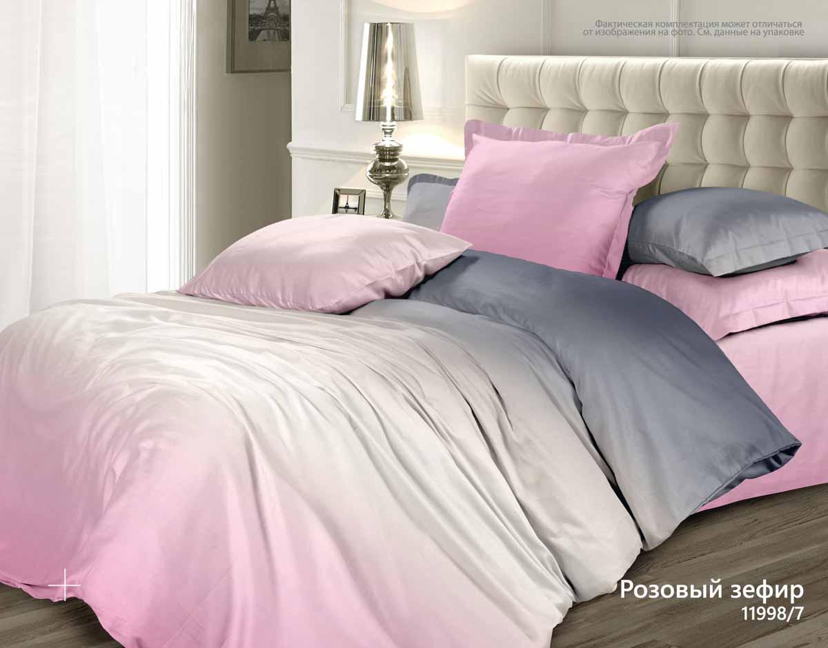 Комплект белья Унисон Зефир, 1,5-спальный, наволочки 70x70, цвет: розовый338575