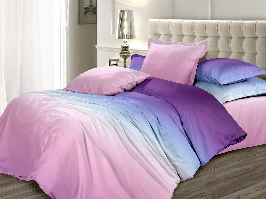 Комплект белья Унисон Северное сияние, 2-спальный, наволочки 70x70, цвет: сиреневый338596